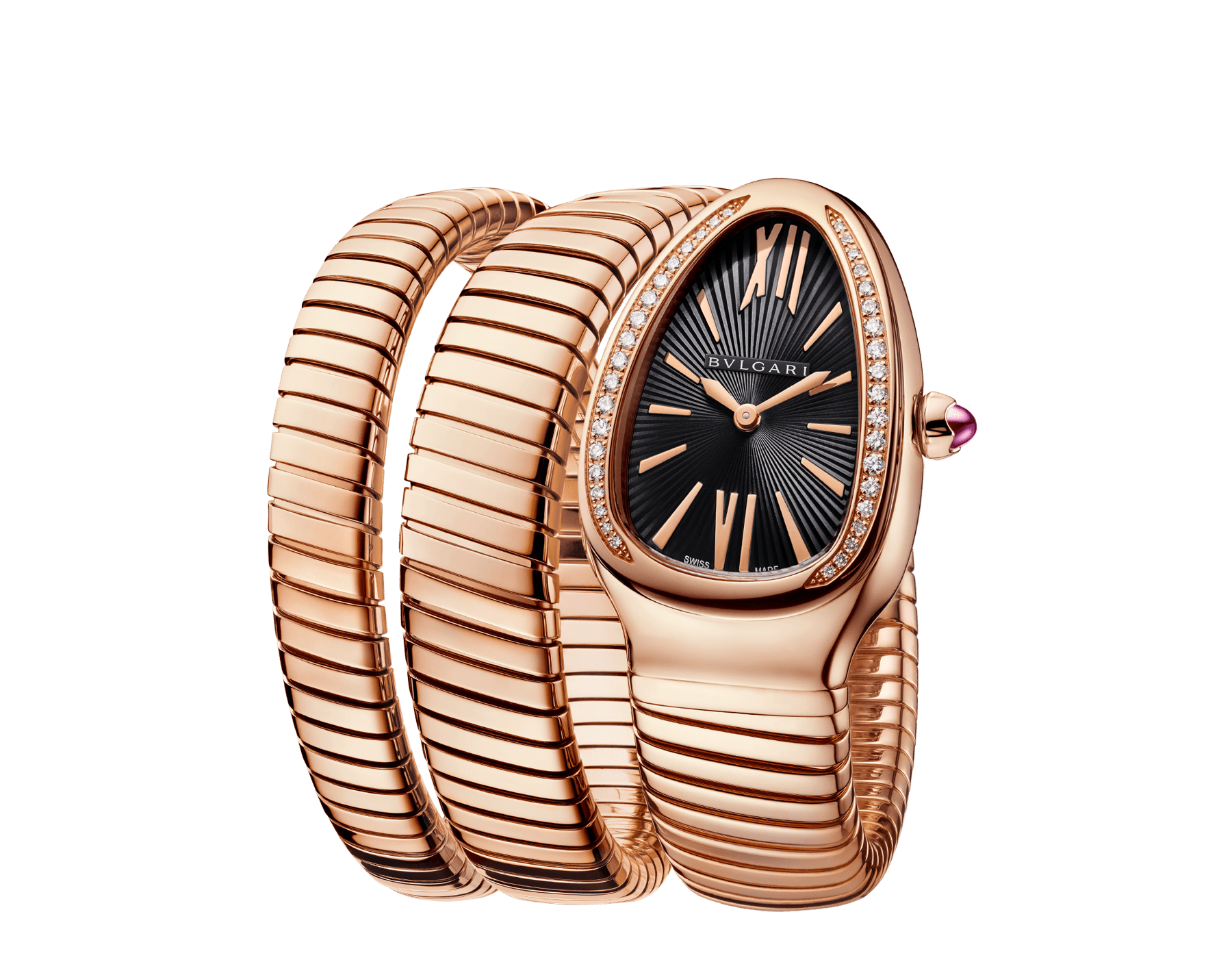Serpenti Tubogas double spiral watch with 18 kt rose gold case set with brilliant cut diamonds, black opaline dial and 18 kt rose gold bracelet. 101814 image 2