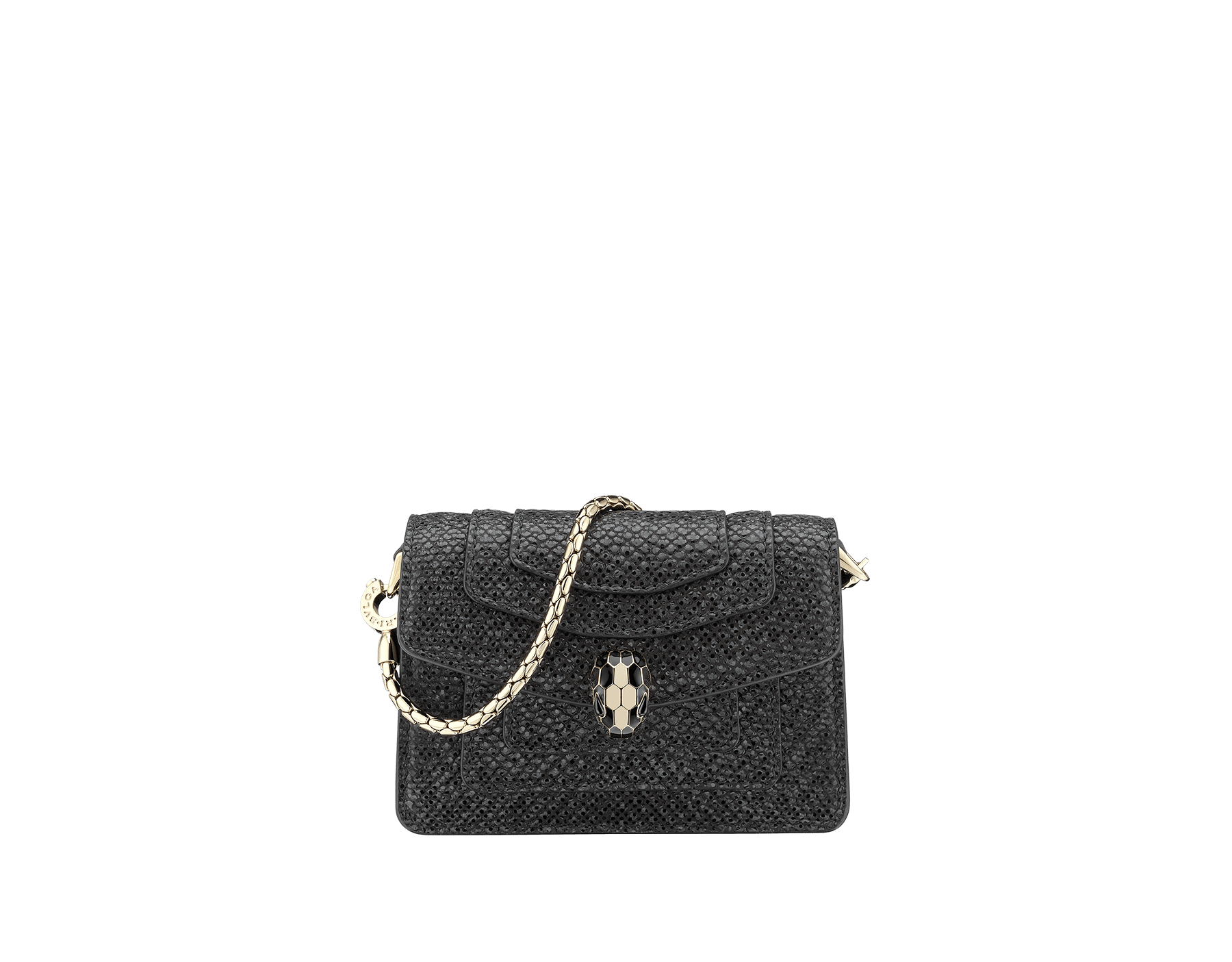 """""""Serpenti Forever"""" miniature bag charm in mint metallic karung skin and black calf leather. Iconic brass light gold plated snakehead stud closure enamelled in black and white and finished with black enamel eyes. SERP-BAG-CHARM-MK image 1"""