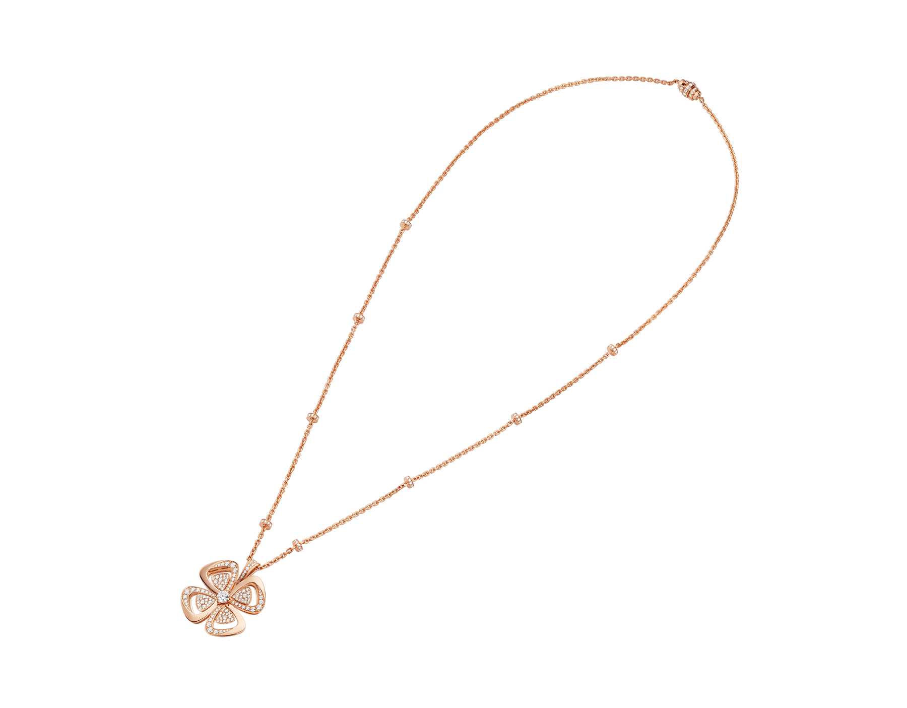 Fiorever咏绽系列18K玫瑰金项链,中央镶嵌一颗圆形明亮式切割钻石,饰以密镶钻石。 357218 image 2