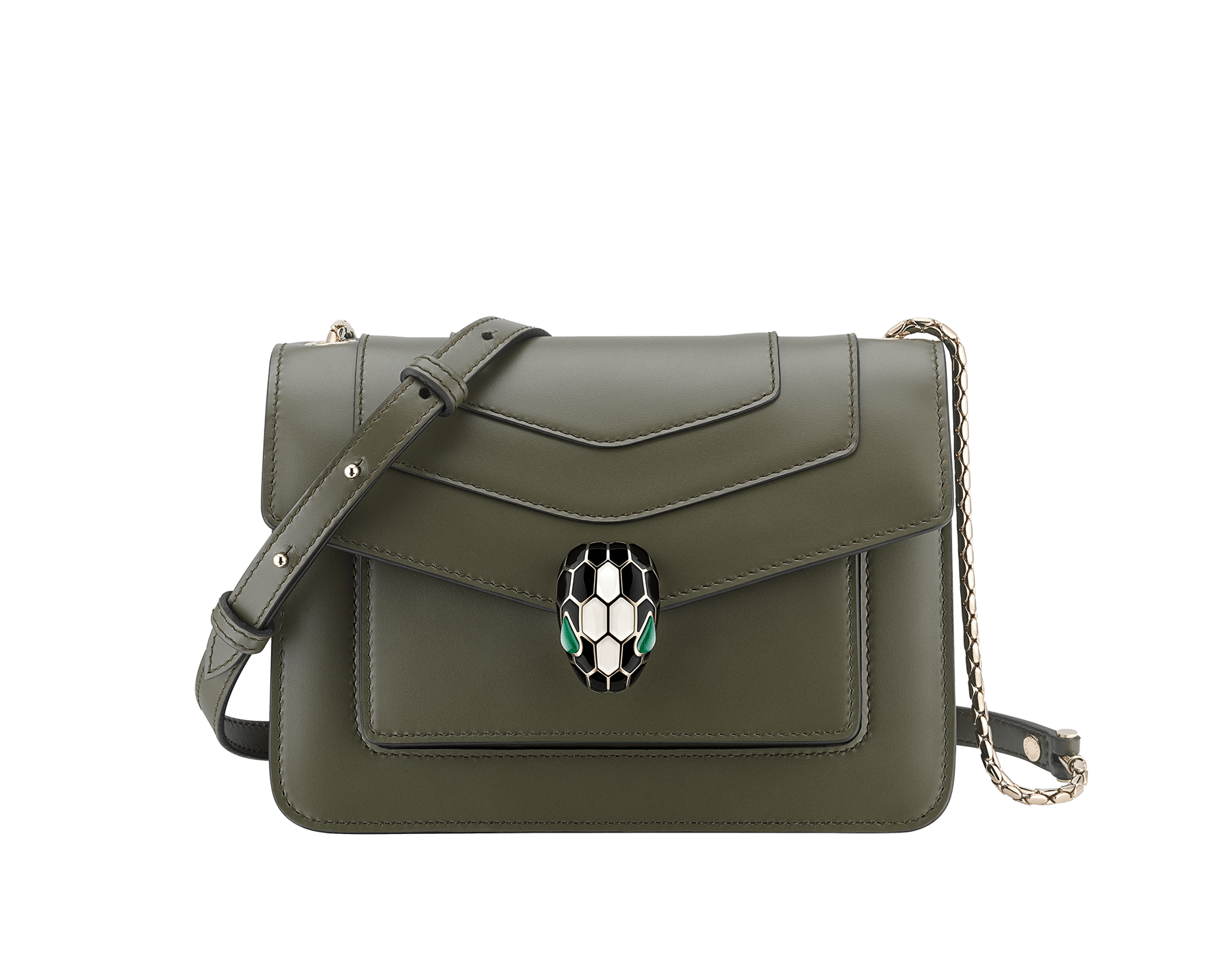 """Serpenti Forever"" crossbody bag in mimetic jade calf leather. Iconic snakehead closure in light gold plated brass enriched with black and white agate enamel and green malachite eyes. 289675 image 1"
