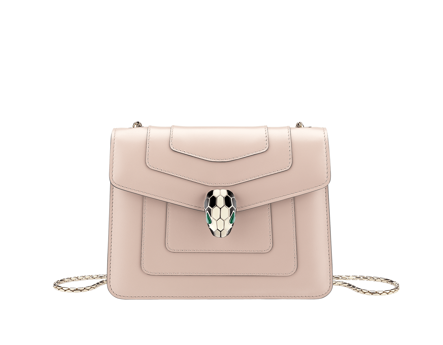 """Serpenti Forever"" crossbody bag in crystal rose calf leather. Iconic snakehead closure in light gold plated brass enriched with black and white enamel and green malachite eyes 287017 image 1"
