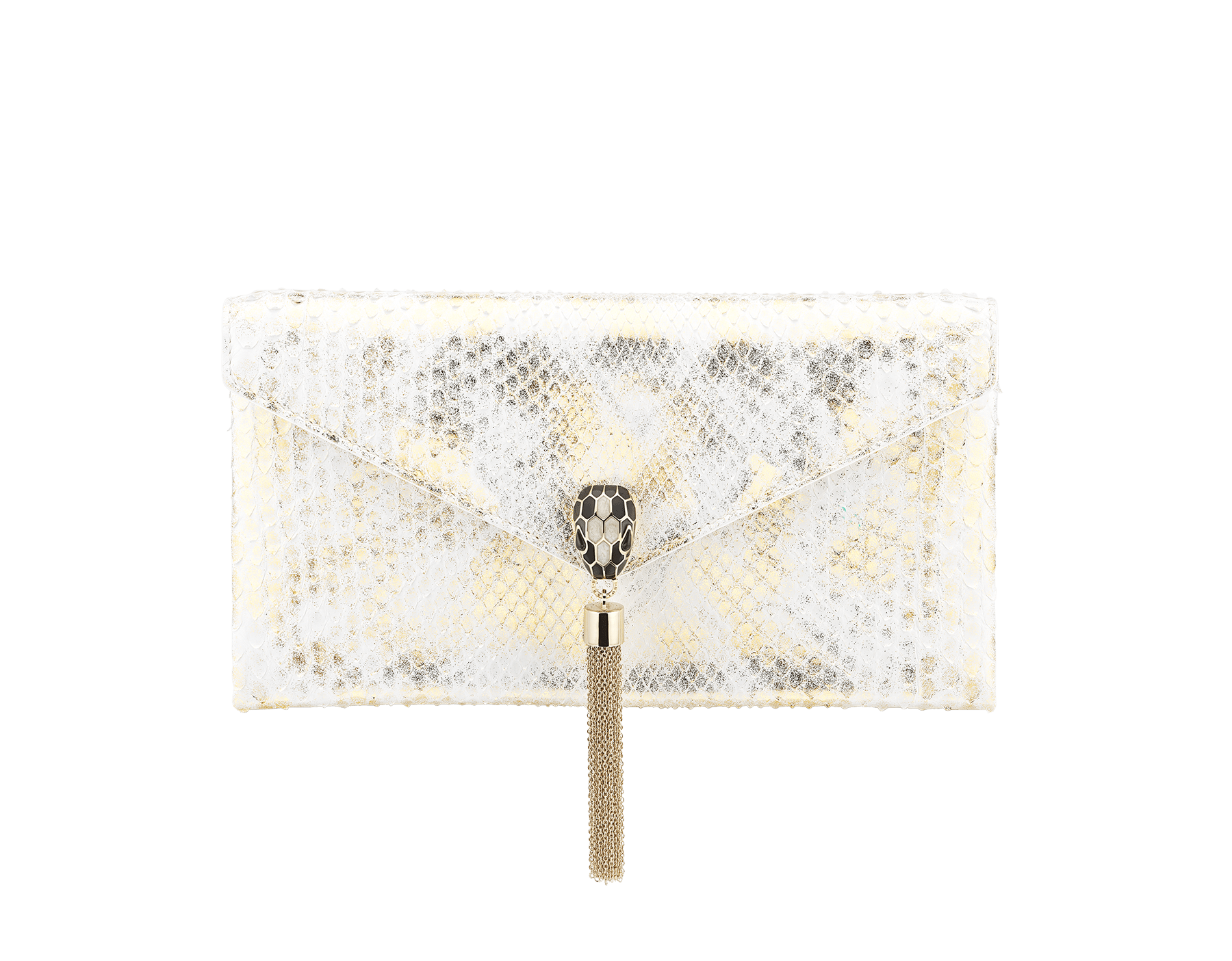 """Serpenti"" evening clutch in agate-white ""Camo"" python skin with Mimetic Jade green nappa leather inner lining. Alluring snakehead closure in light gold-plated brass enriched with black and pearly, agate-white enamel and black onyx eyes. 289868 image 1"