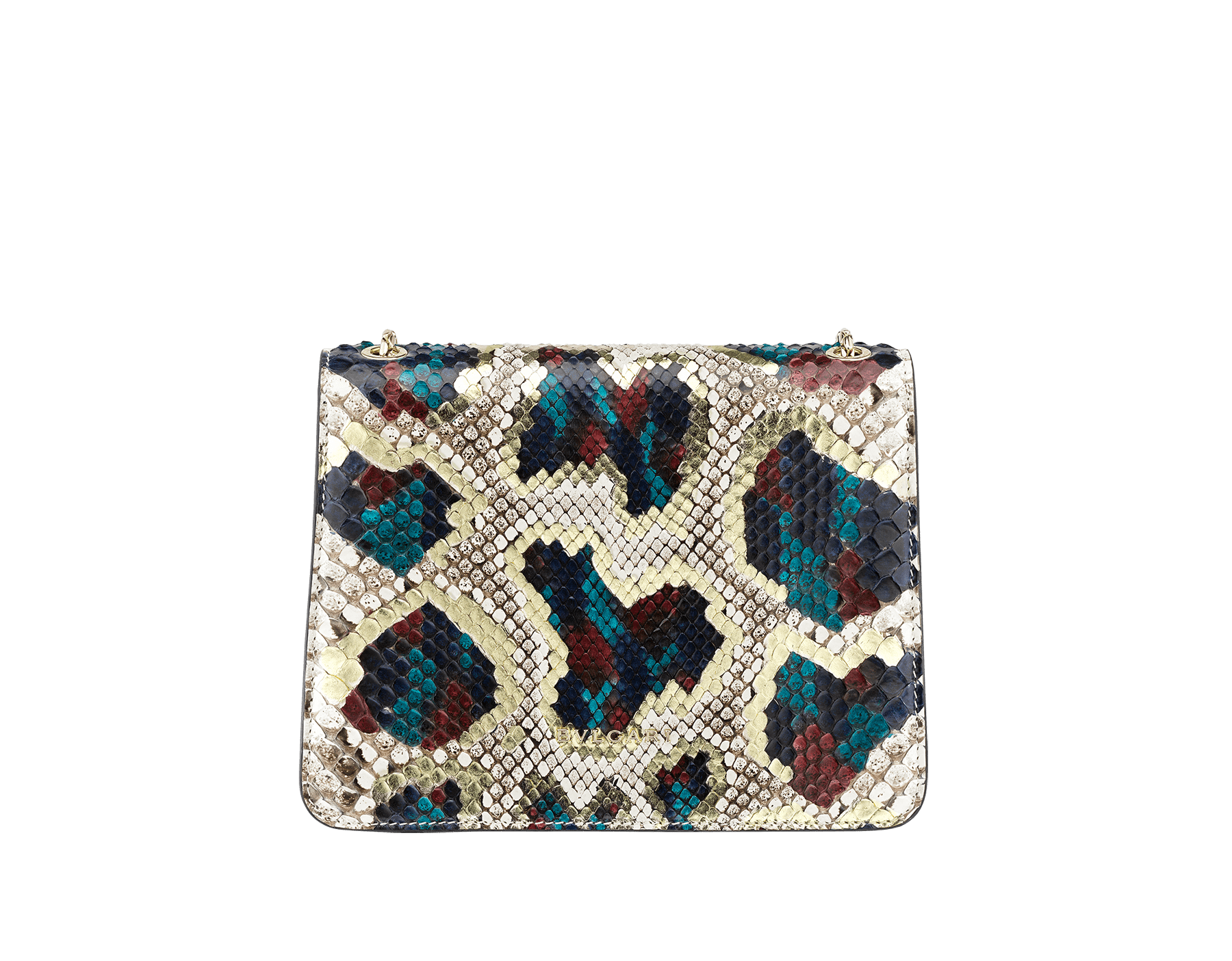 "Borsa a tracolla ""Serpenti Forever"" in pitone multicolore ""Magic Chromaline"". Iconica chiusura ""Serpenti"" in ottone placcato oro chiaro con squame in smalto bianco e nero e occhi in onice nera. 422-Pc image 3"