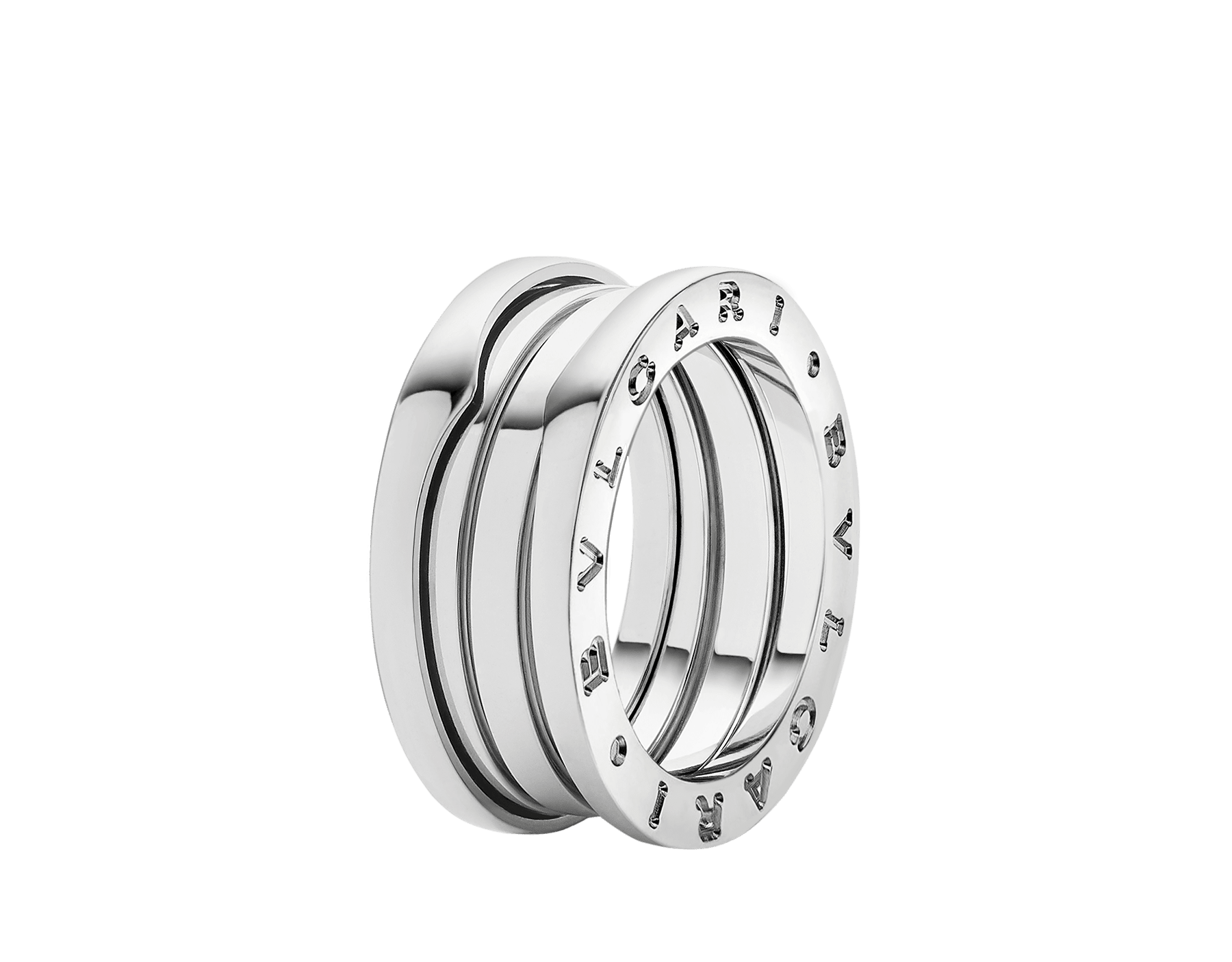 B.zero1 three-band ring in 18 kt white gold. B-zero1-3-bands-AN191024 image 1
