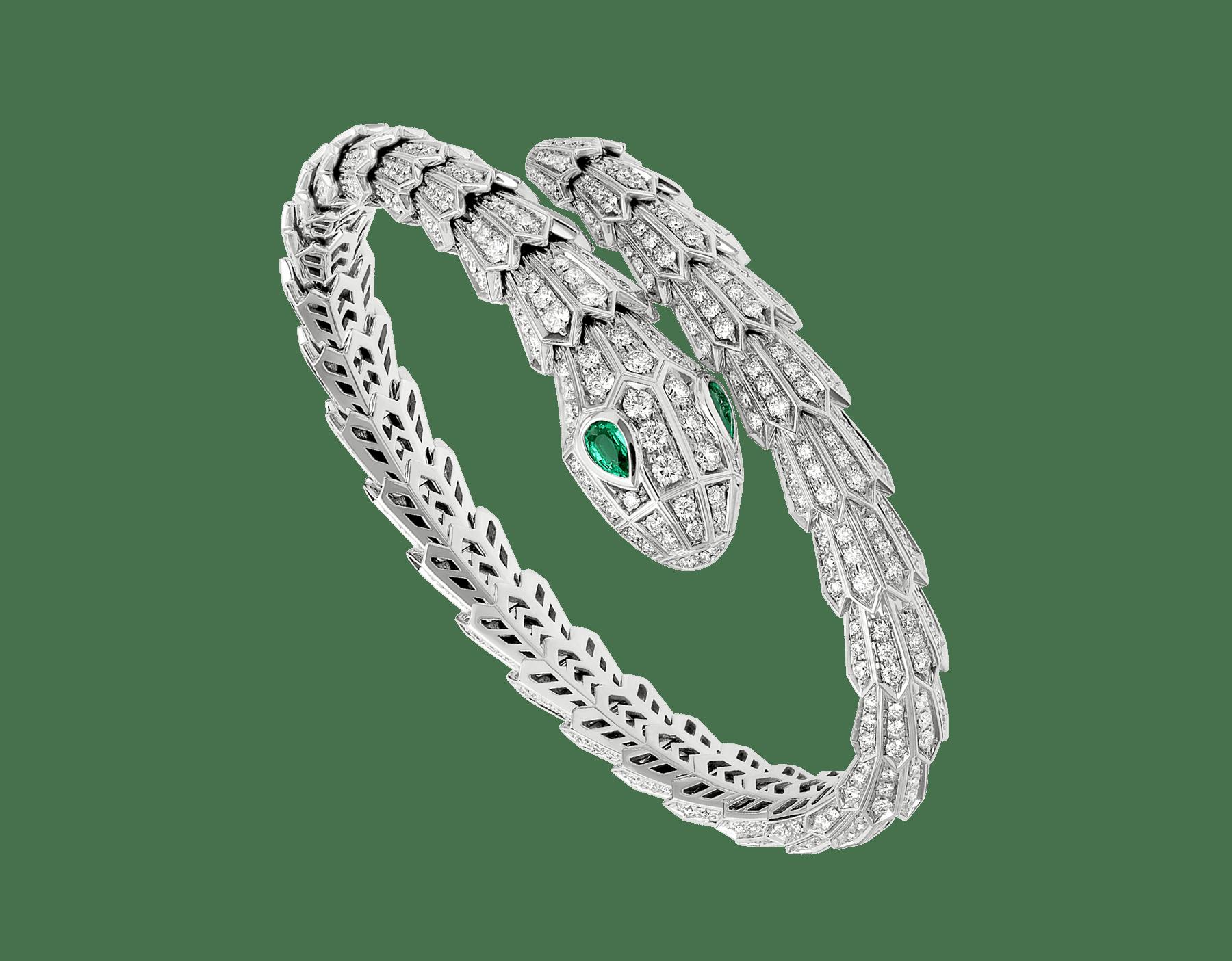 Serpenti Armband aus 18 Karat Weißgold mit Diamant-Pavé und zwei Augen aus Smaragden BR858734 image 2