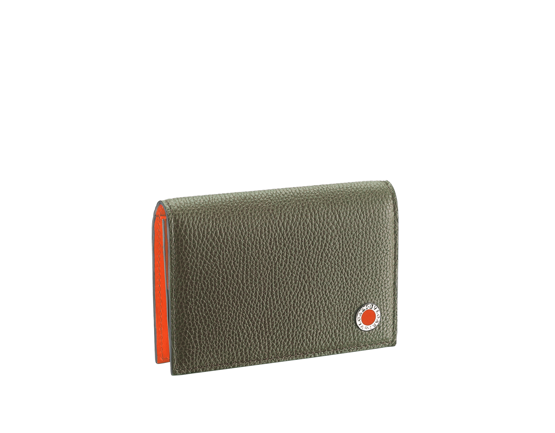 """BVLGARI BVLGARI"" business card holder in denim sapphire soft full grain calf leather and capri turquoise calf leather, with brass palladium plated logo décor coloured in capri turquoise enamel. BBM-BC-HOLD-SIMPLE-sfgcl image 1"