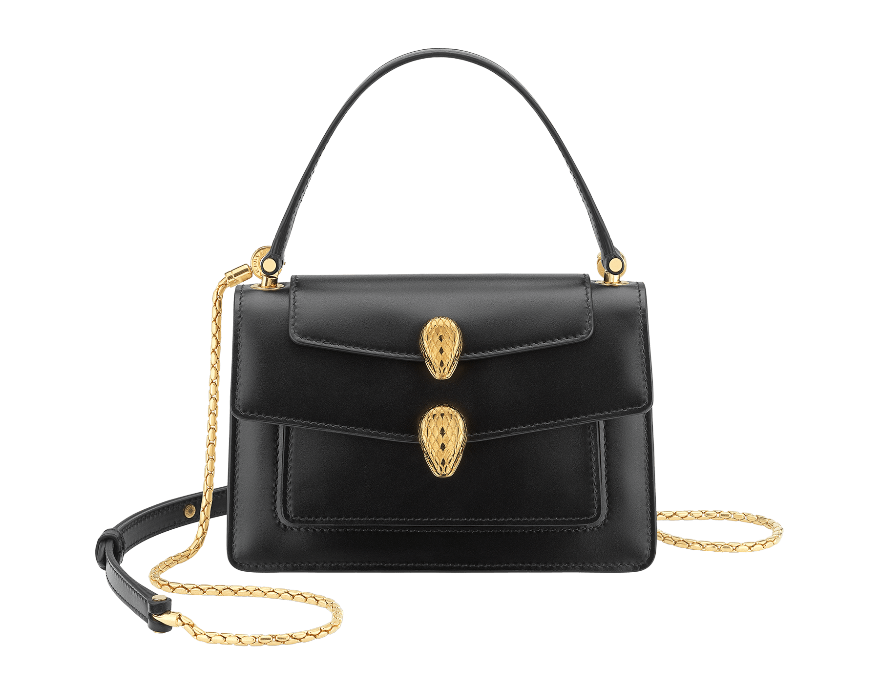 Alexander Wang x Bvlgari belt bag in smooth black calf leather. New double Serpenti head closure in antique gold plated brass with tempting red enamel eyes. Limited edition. 288737 image 1