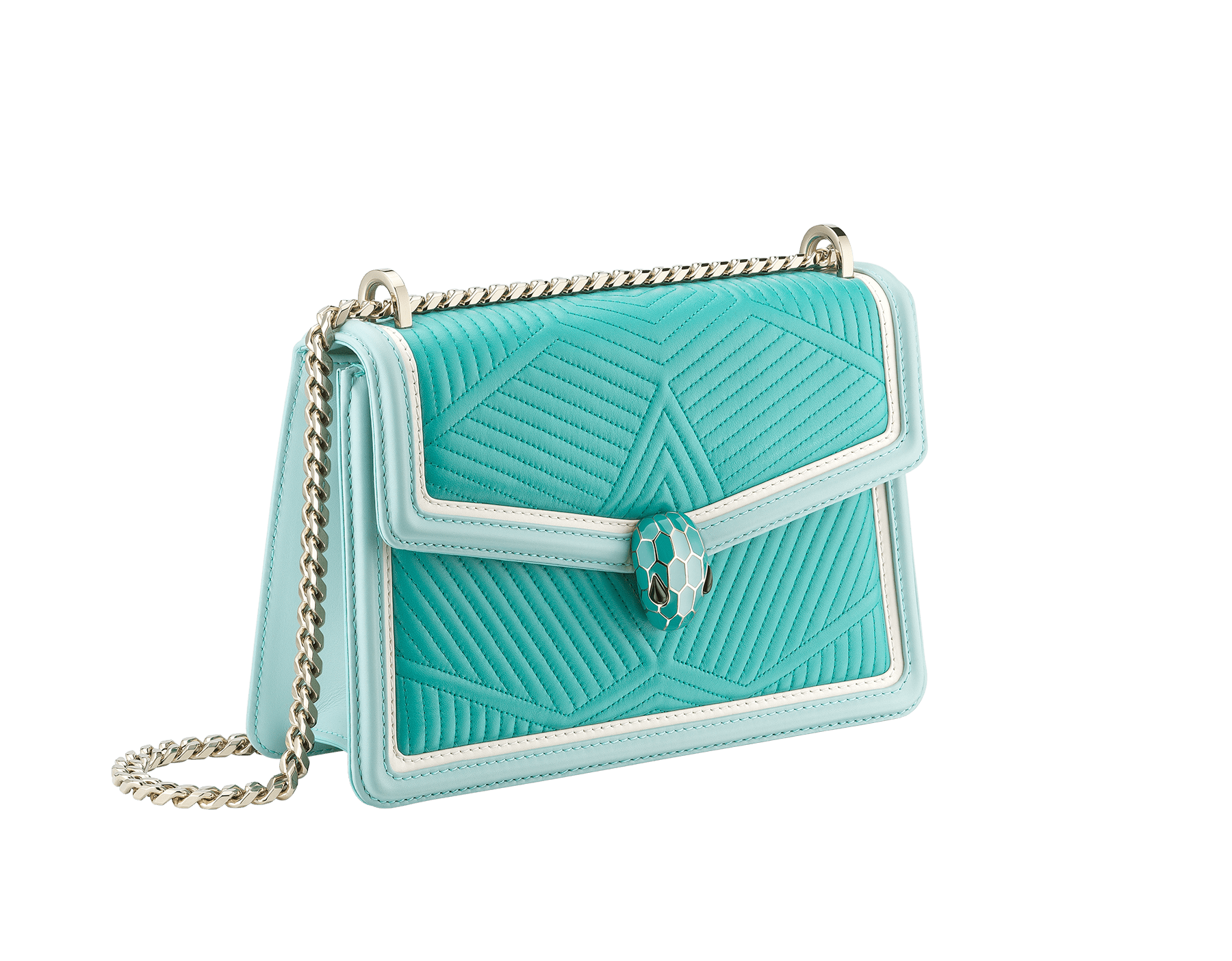 """Serpenti Diamond Blast"" shoulder bag in arctic jade quilted nappa leather and with glacier turquoise and white agate smooth calf leather frames. Iconic snakehead closure in light gold plated brass enriched with arctic jade and glacier turquoise enamel and black onyx eyes. 288824 image 2"
