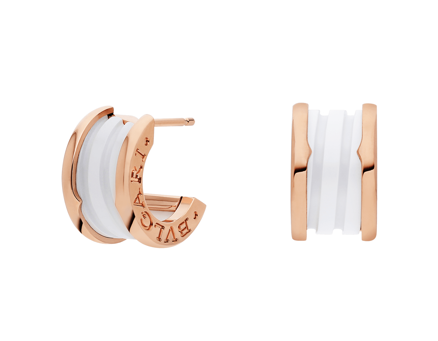 B.zero1 earrings in 18kt rose gold and white ceramic. 346464 image 1