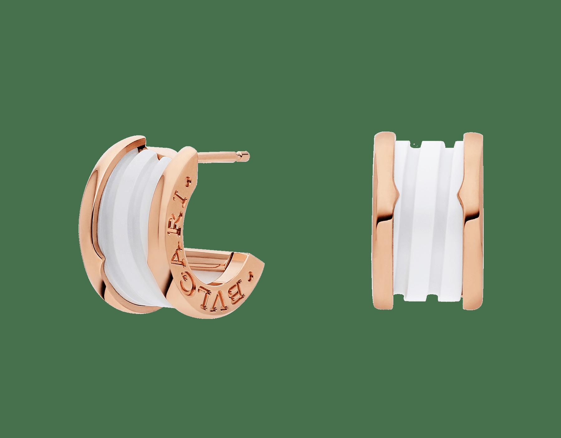 Pendientes B.zero1 en oro rosa de 18 qt y cerámica blanca. 346464 image 1