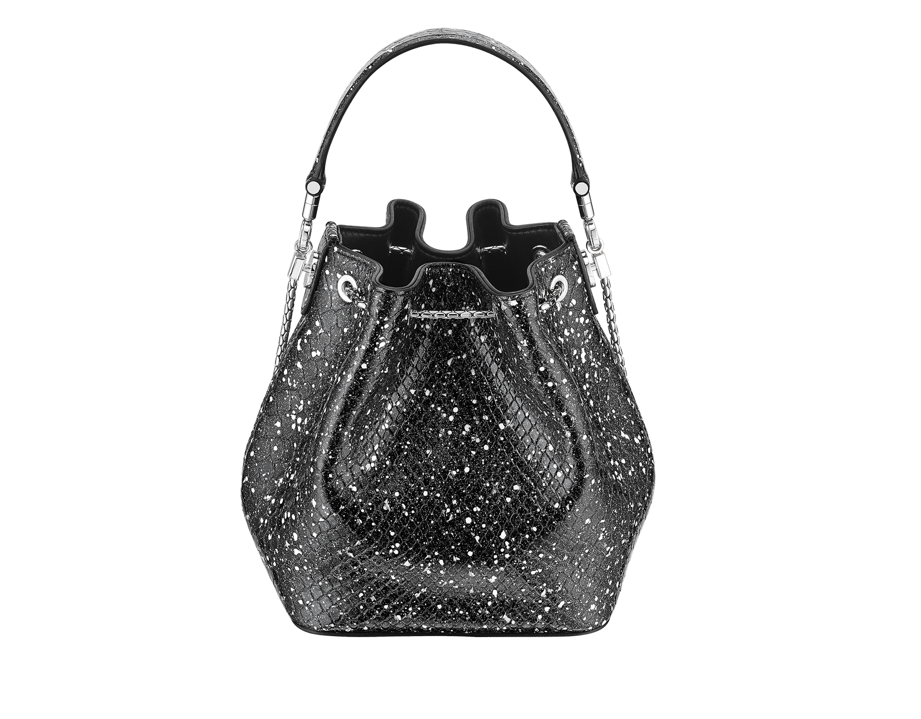 Serpenti Forever bucket bag in black and white Cosmic python skin and black nappa inner lining. Snakehead closure in palladium plated brass decorated with black and white enamel, and black onyx eyes. 288112 image 3