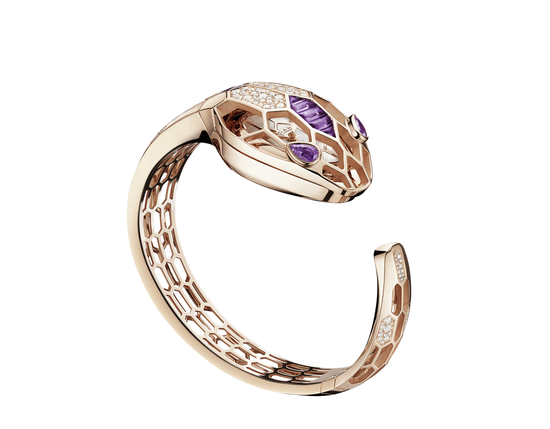 Serpenti Misteriosi Secret Watch in 18 kt rose gold case and bracelet both set with round brilliant-cut diamonds and baguette-cut amethysts, mother-of-pearl dial and pear shaped amethyst eyes. Medium size 103056 image 1
