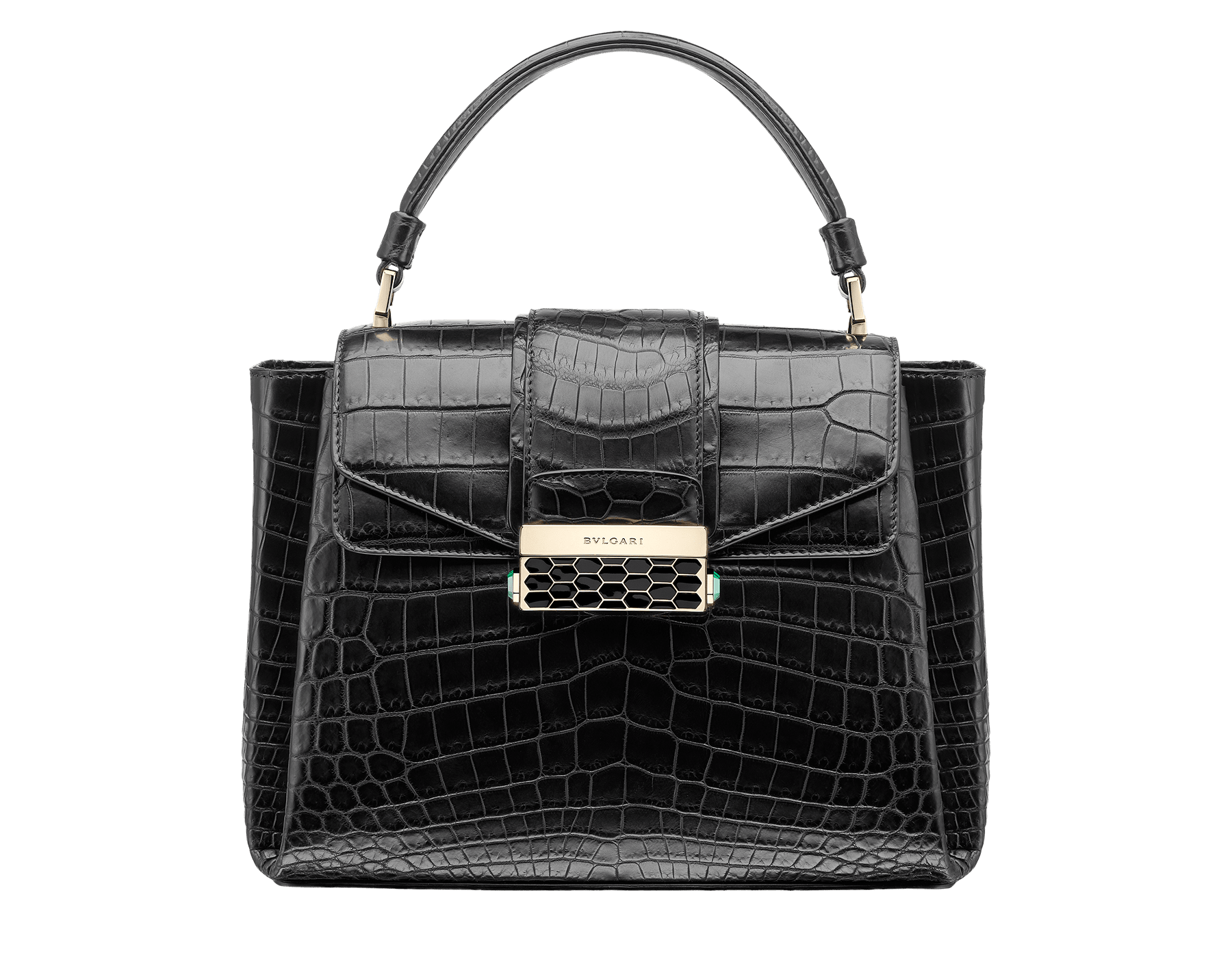 Top handle bag Serpenti Viper in black matt crocodile skin. Brass light gold plated hardware and snap closure in black shiny enamel with iconic Scaglie design. 284486 image 1