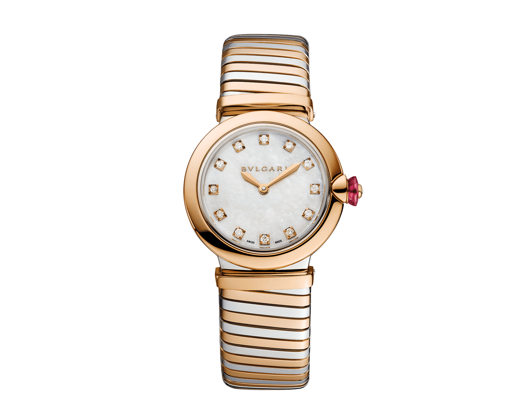 LVCEA Tubogas watch in 18 kt rose gold and stainless steel case and tubogas bracelet, with white mother-of-pearl dial and diamond indexes 102952 image 1