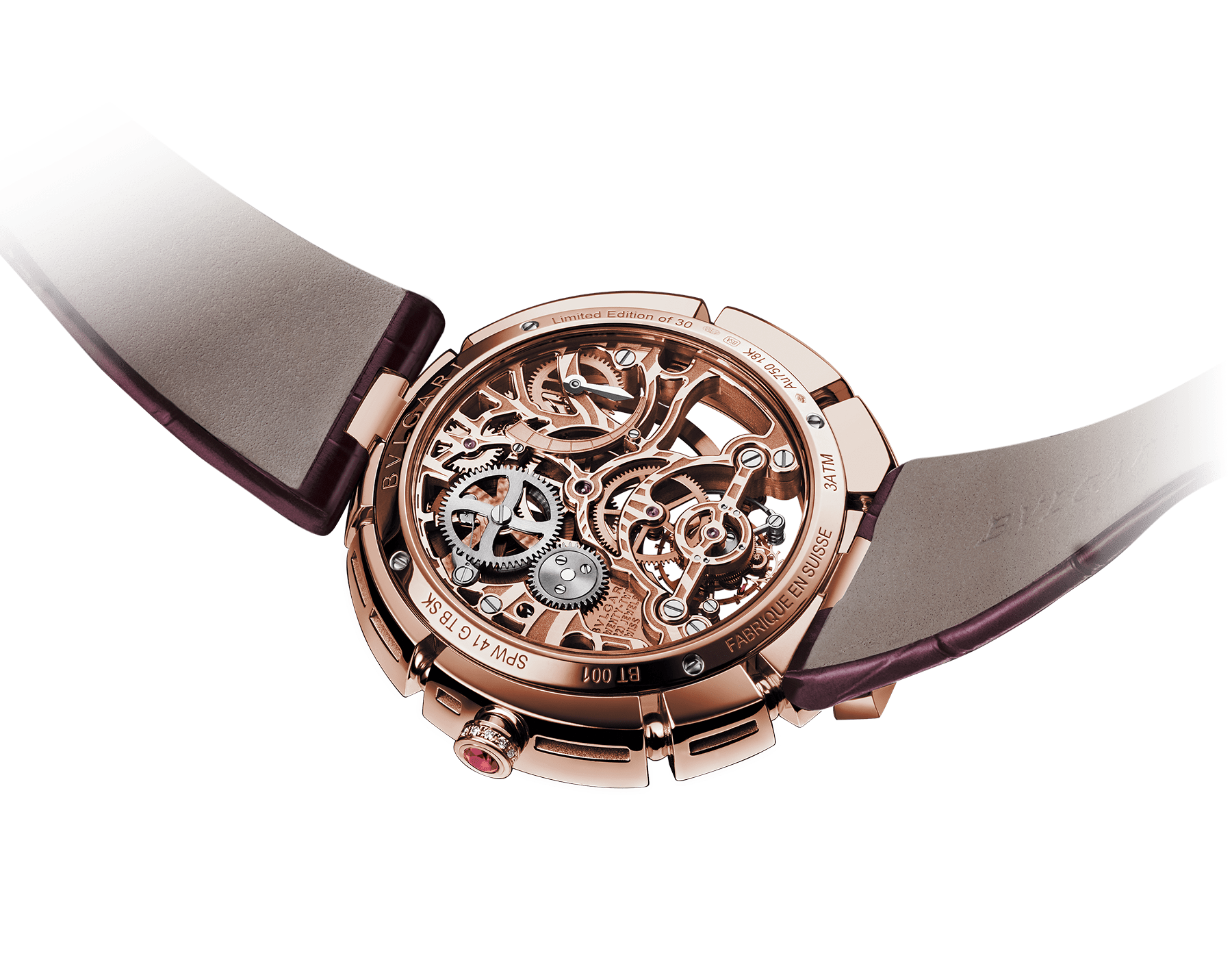 Serpenti Incantati Limited Edition watch with mechanical manufacture skeletonized movement, tourbillon and manual winding. 18 kt rose gold case set with brilliant cut diamonds, transparent dial and burgundy alligator bracelet. 102540 image 2