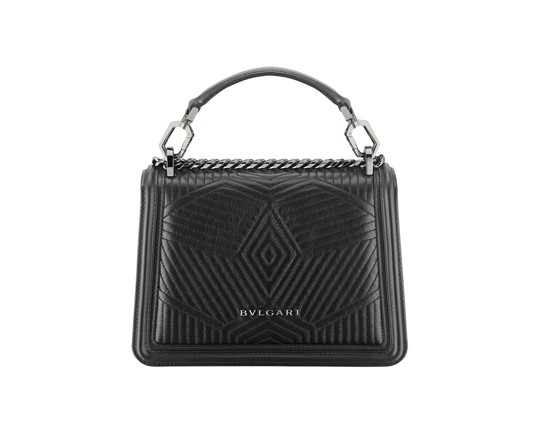 """Serpenti Diamond Blast"" crossbody bag in white agate quilted nappa leather and berry tourmaline smooth calf leather frames. Tempting snakehead closure in light gold-plated brass enhanced with matte black and shiny berry tourmaline enamel and black onyx eyes. 1063-FQDa image 3"