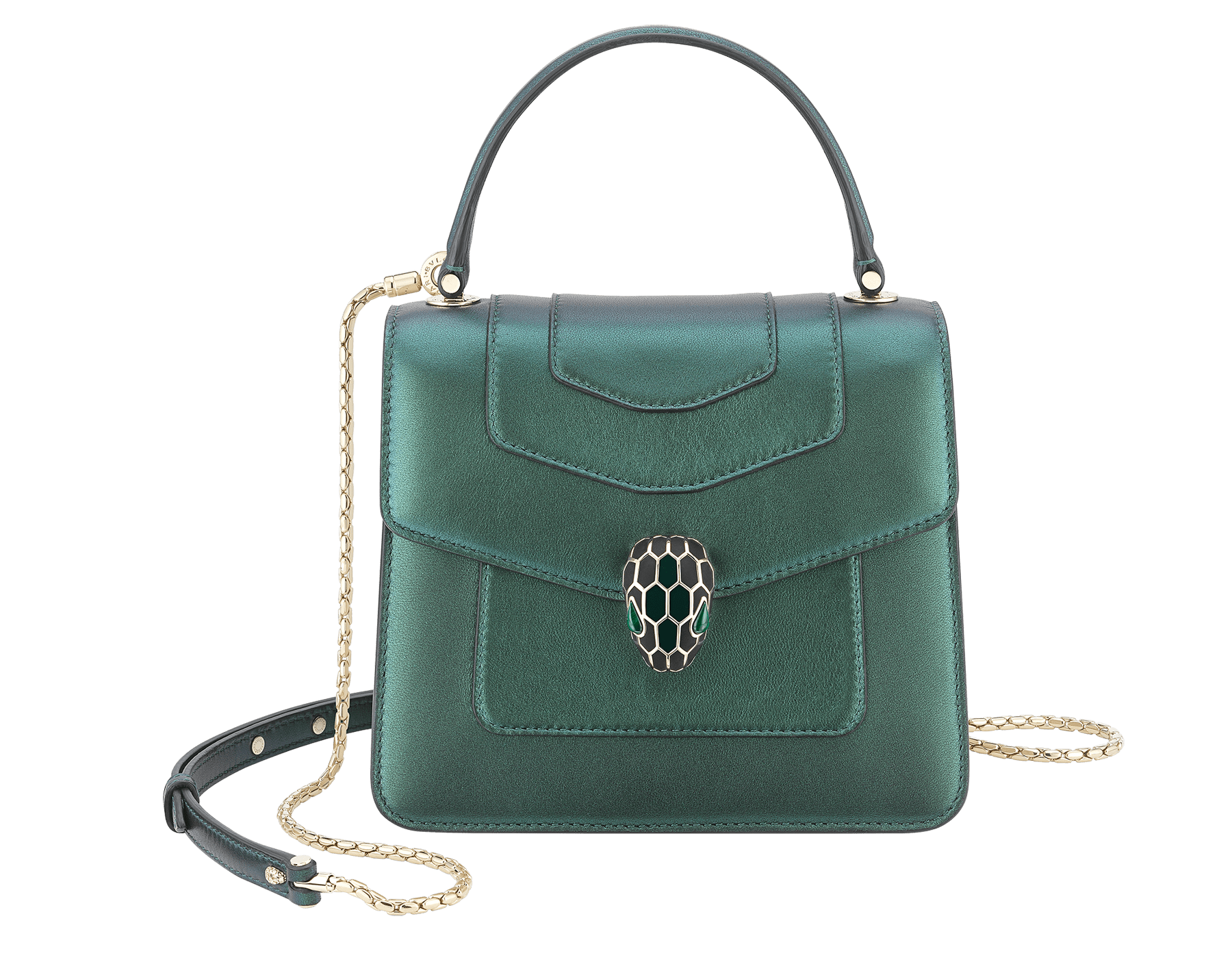 """Serpenti Forever "" crossbody bag in pearled emerald nappa leather. Iconic snakehead closure in light gold plated brass enriched with black and forest emerald enamel and green malachite eyes. Special Edition. 289837 image 1"
