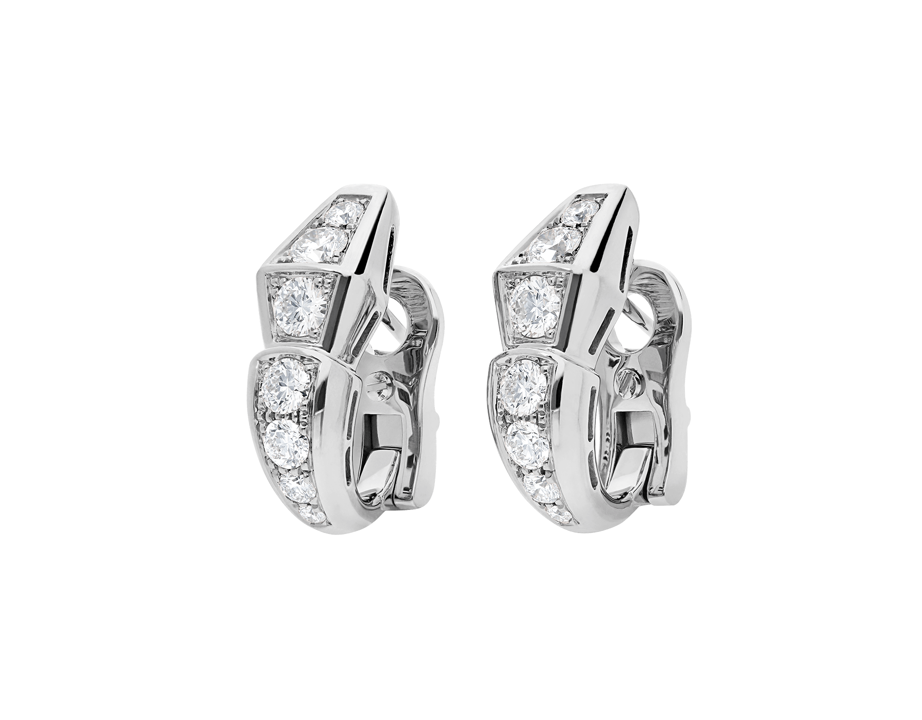 Serpenti Viper slim earrings in 18 kt white gold, set with full pavé diamonds. 351426 image 2