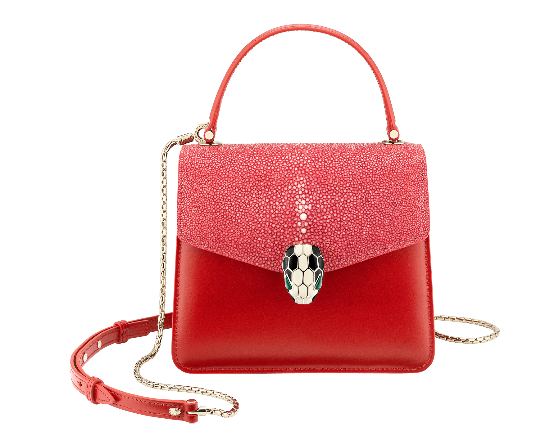"""Serpenti Forever "" crossbody bag in carmine jasper galuchat skin and calf leather. Iconic snakehead closure in light gold plated brass enriched with black and white enamel and green malachite eyes 752-Gb image 1"