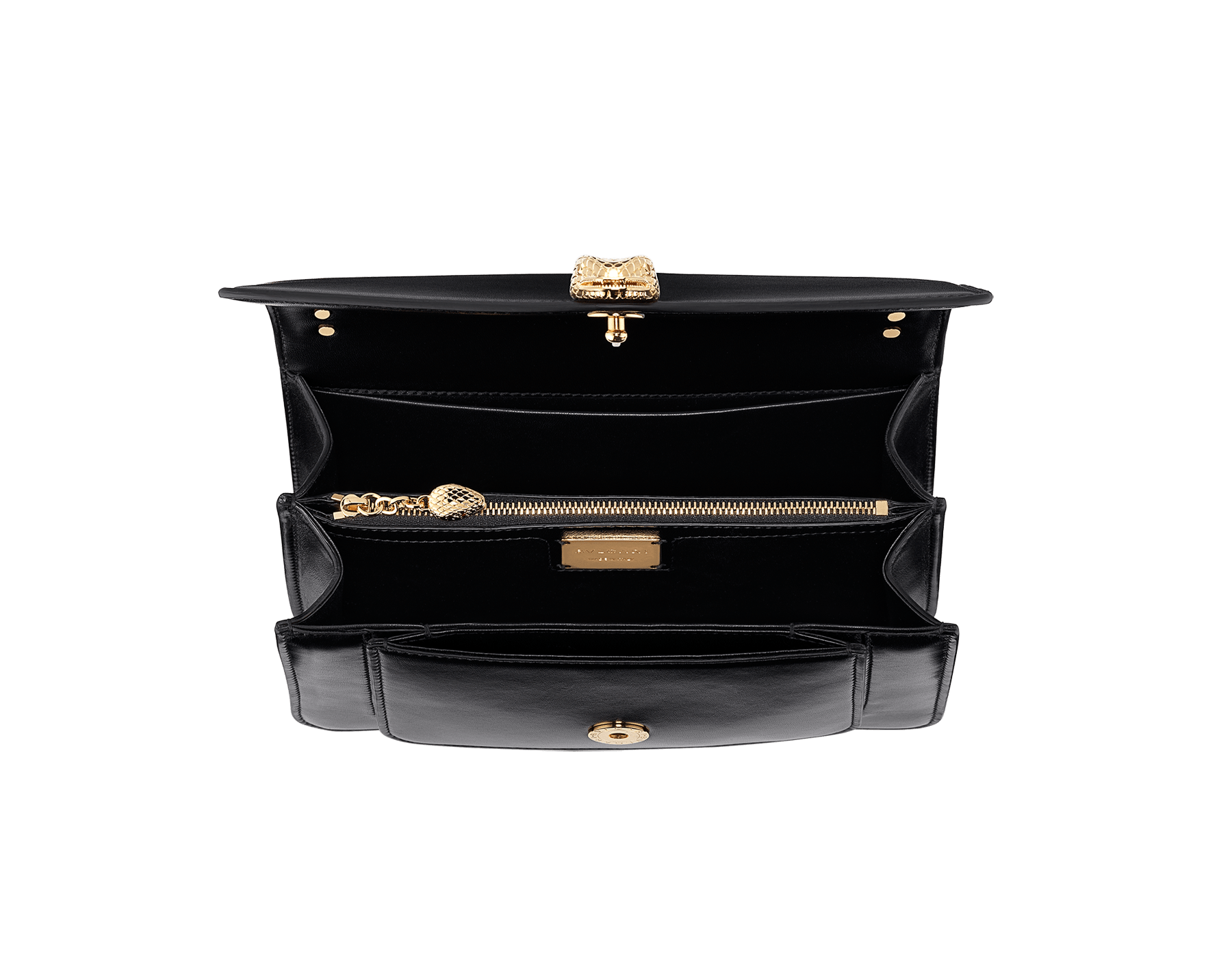 """""""Serpenti Forever"""" maxi chain crossbody bag in black nappa leather, with black nappa leather internal lining. New Serpenti head closure in gold-plated brass, finished with red enamel eyes. 290945 image 4"""