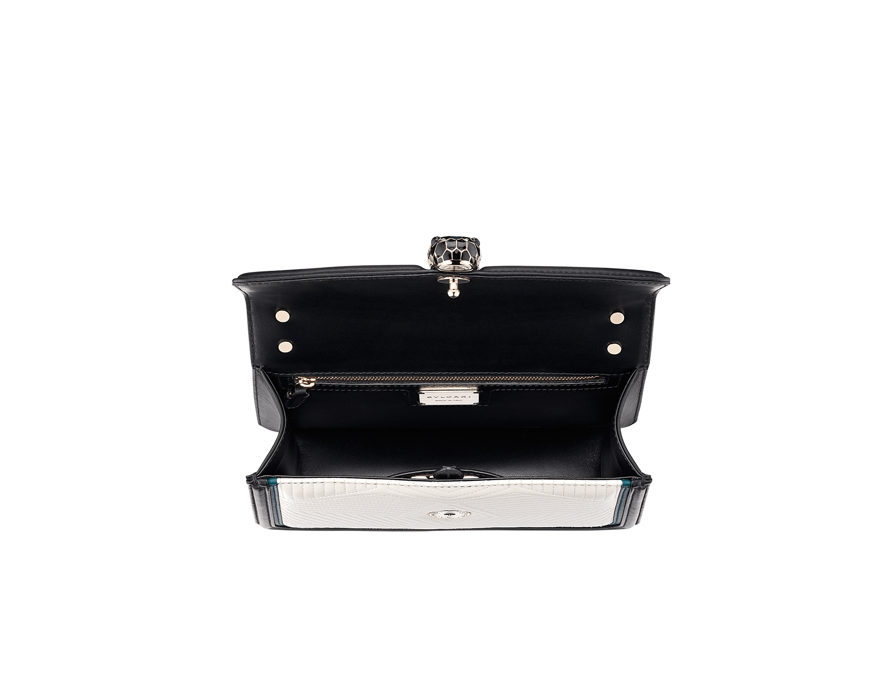 Serpenti Diamond Blast shoulder bag in white agate quilted nappa leather body and deep jade and black calf leather frames. Snakehead closure in light gold plated brass decorated with deep jade and black enamel, and black onyx eyes. 287970 image 4