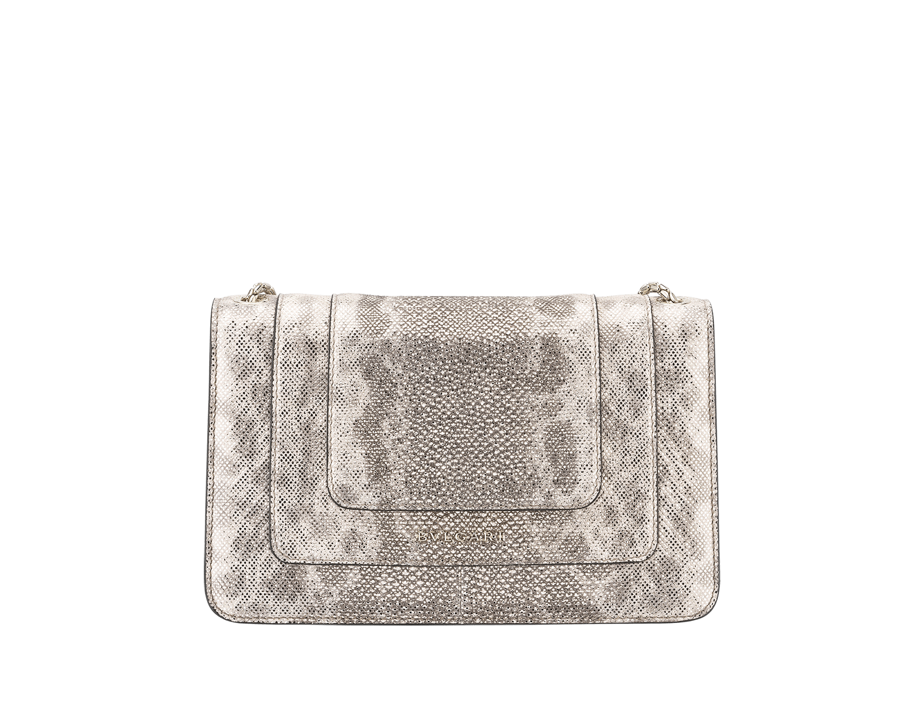 """Serpenti Forever"" crossbody bag in milky opal metallic karung. Iconic snake head closure in light gold plated brass enriched with black and glitter milky opal and black onyx eyes. 289556 image 3"