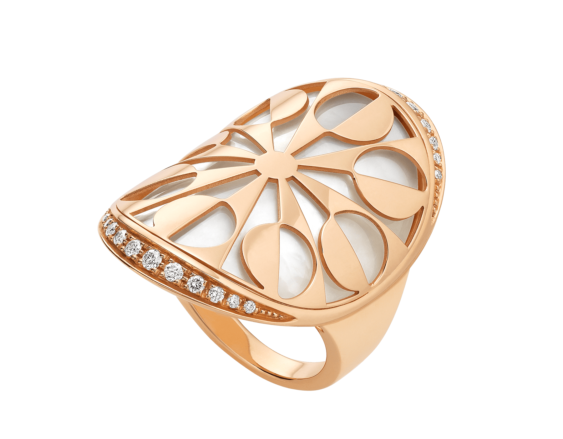 Intarsio 18 kt rose gold ring set with mother-of-pearl elements and pavé diamonds AN855768 image 1