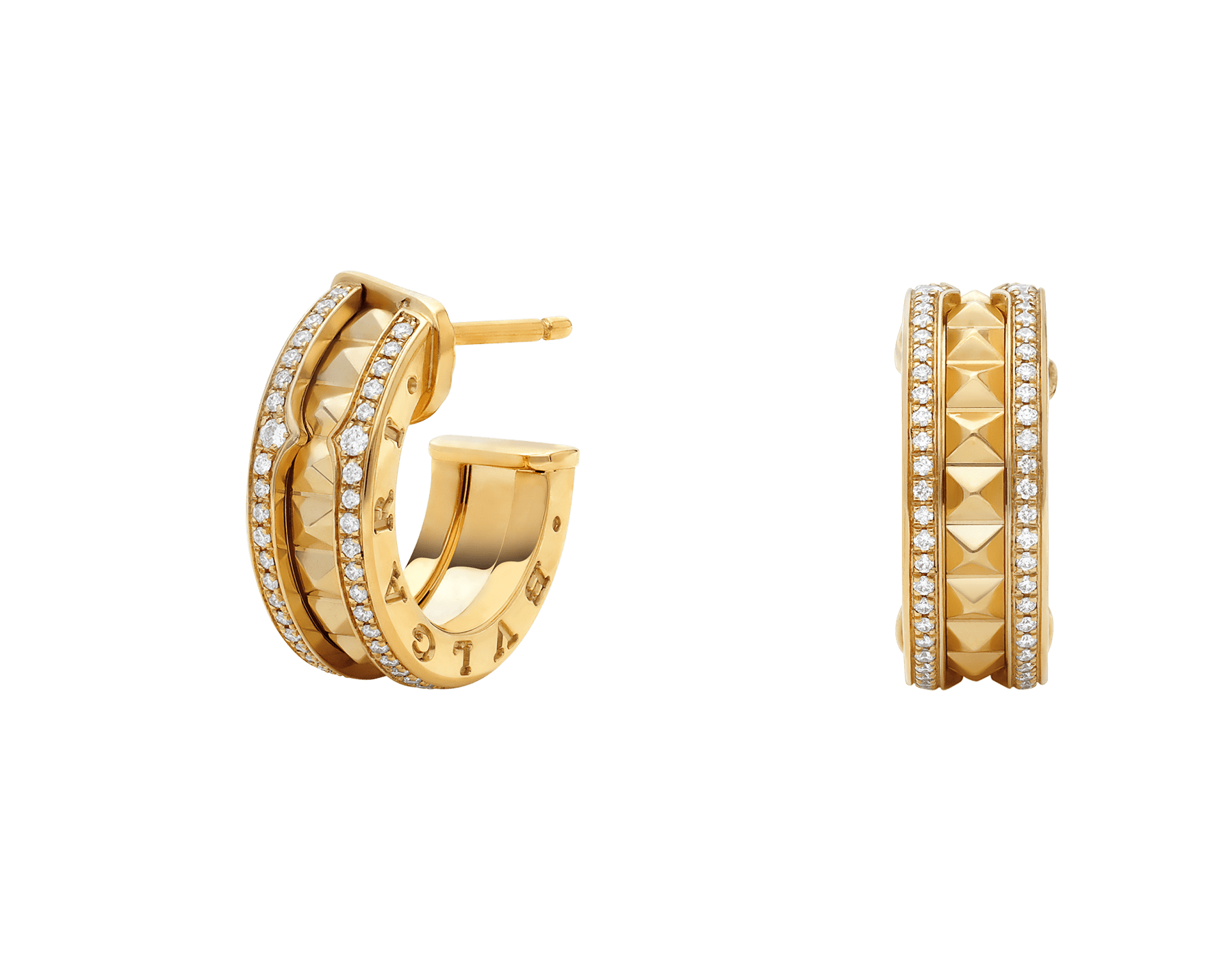 B.zero1 Rock 18 kt yellow gold earrings with studded spiral and pavé diamonds on the edges 357918 image 1