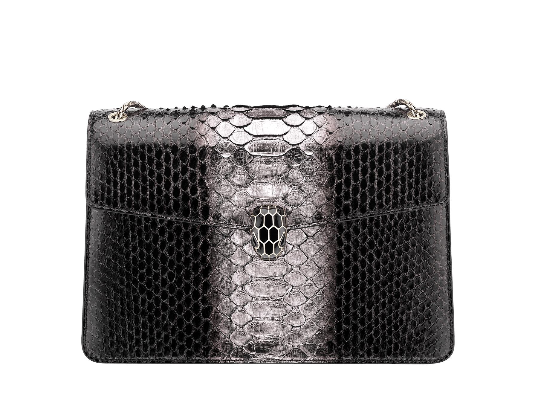 Serpenti Forever shoulder bag in black and silver shaded python skin. Snakehead closure in light gold plated brass decorated with black enamel, and black onyx eyes. 288494 image 1