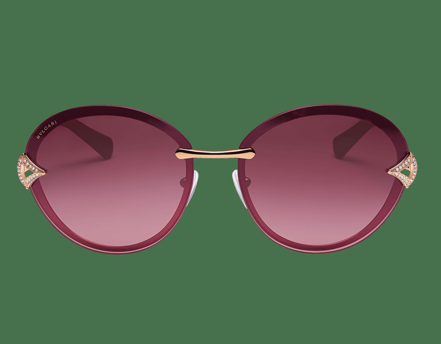 Bulgari Divas' Dream round metal sunglasses with Divas' Dream metal décor and crystals. 903910 image 2