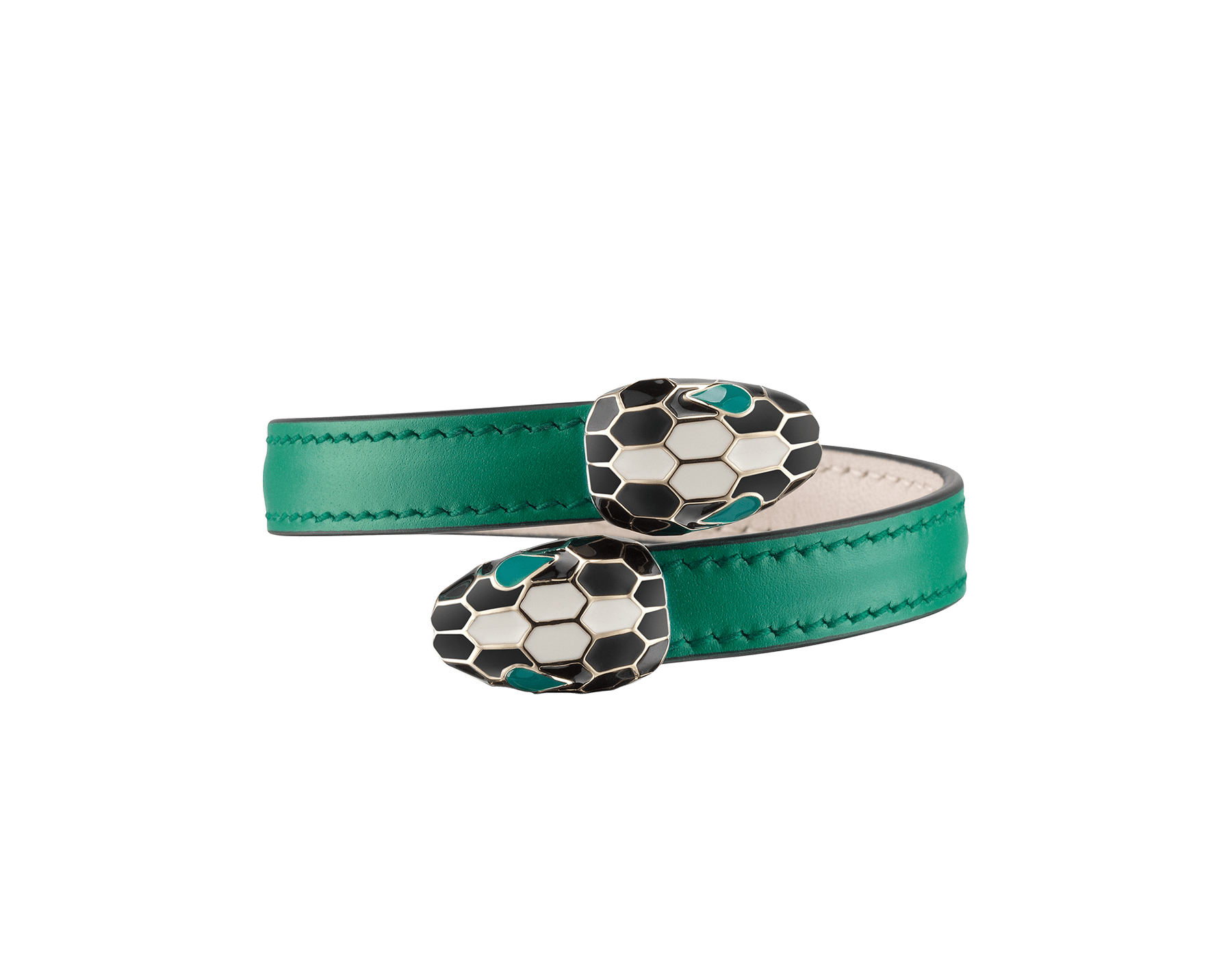 Serpenti Forever soft bangle bracelet in emerald green calf leather, with brass light gold plated hardware. Iconic contraire snakehead décor in black and white enamel, with green enamel eyes. SerpSoftContr-CL-EG image 1