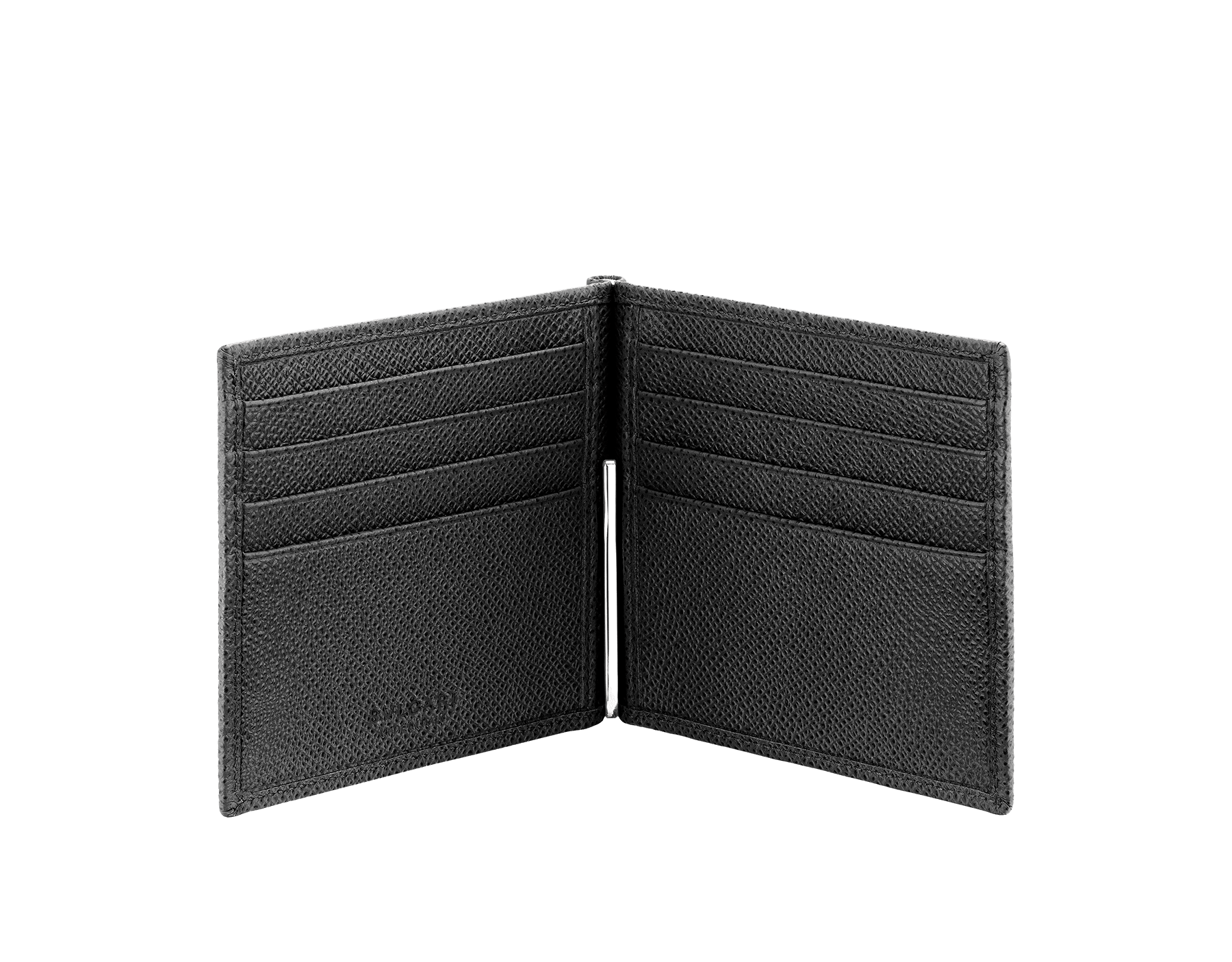 Wallet hipster for men in black grain calf leather with bill clip. Brass palladium plated hardware featuring the BVLGARI BVLGARI motif. BBM-WLT-HIP-CLI-8C image 2