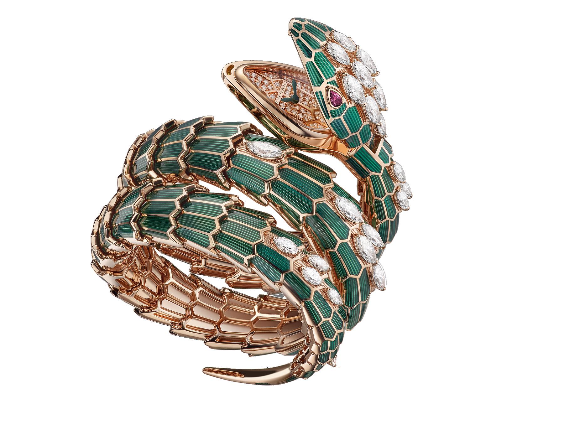 Montre secrète Serpenti avec tête et bracelet double spirale en or rose 18K recouverts de laque verte et sertis de diamants taille marquise, yeux en rubis et cadran en or rose 18K serti de diamants taille brillant. 102528 image 1