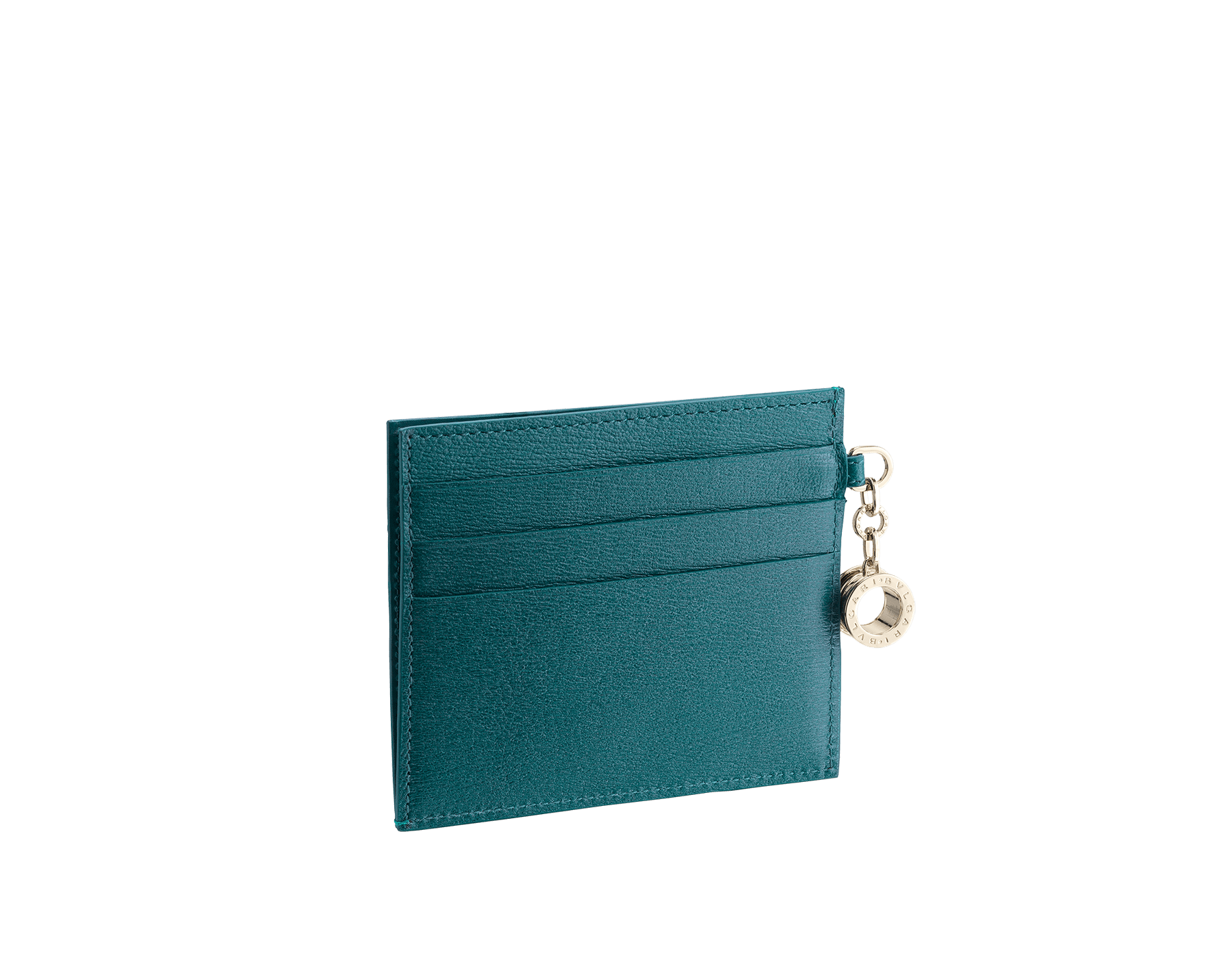 B.zero1 open credit card holder in tropical turquoise and deep jade goatskin. Iconic B.zero1 charm in light gold plated brass. 288234 image 2