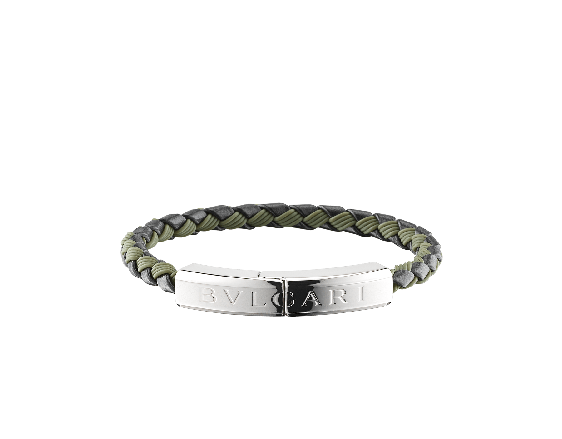 """BVLGARI BVLGARI"" bracelet in black calf leather and mimetic jade rubber with a palladium plated brass plate closure with Bvlgari logo. LogoPlate-CLR-BMJ image 1"