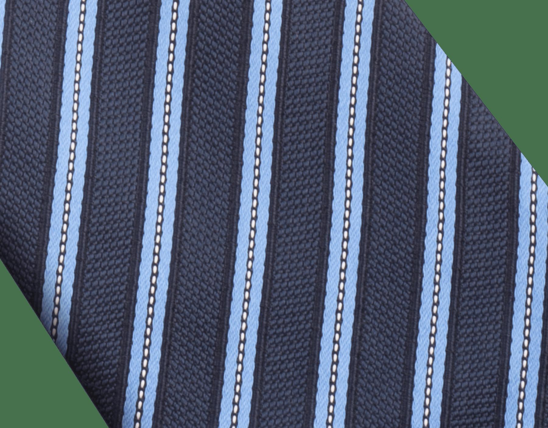 Blue Double Logo Lane pattern tie in fine silk. 242588 image 2