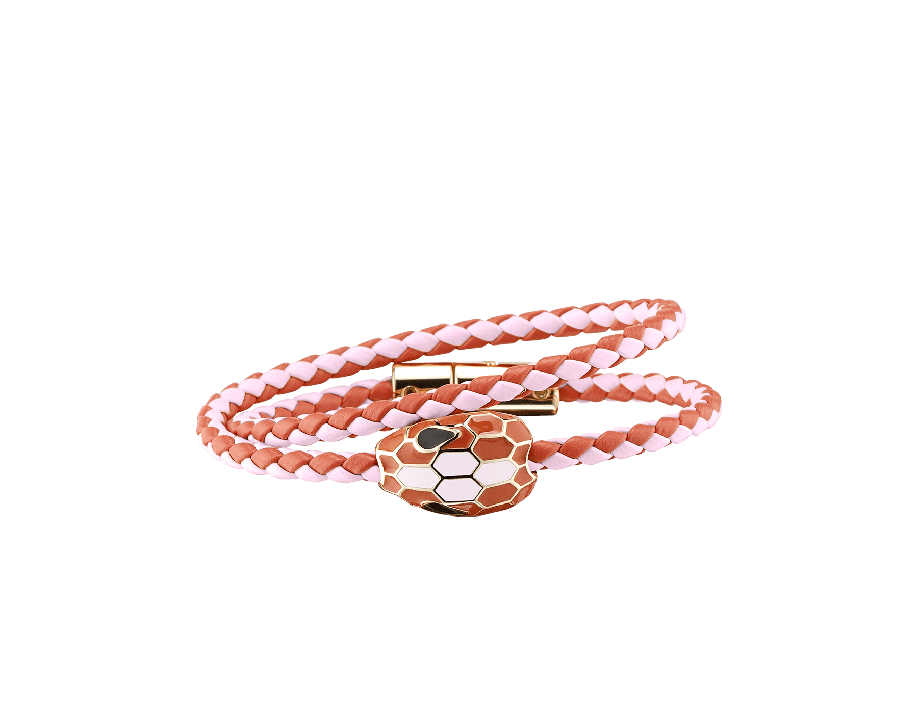 Serpenti Forever multi-coiled braid bracelet in rosa di francia and imperial topaz woven calf leather, with the iconic snakehead décor imperial topaz and rosa di francia enamel . SerpDoubleBraid-WCL-RdFIT image 1
