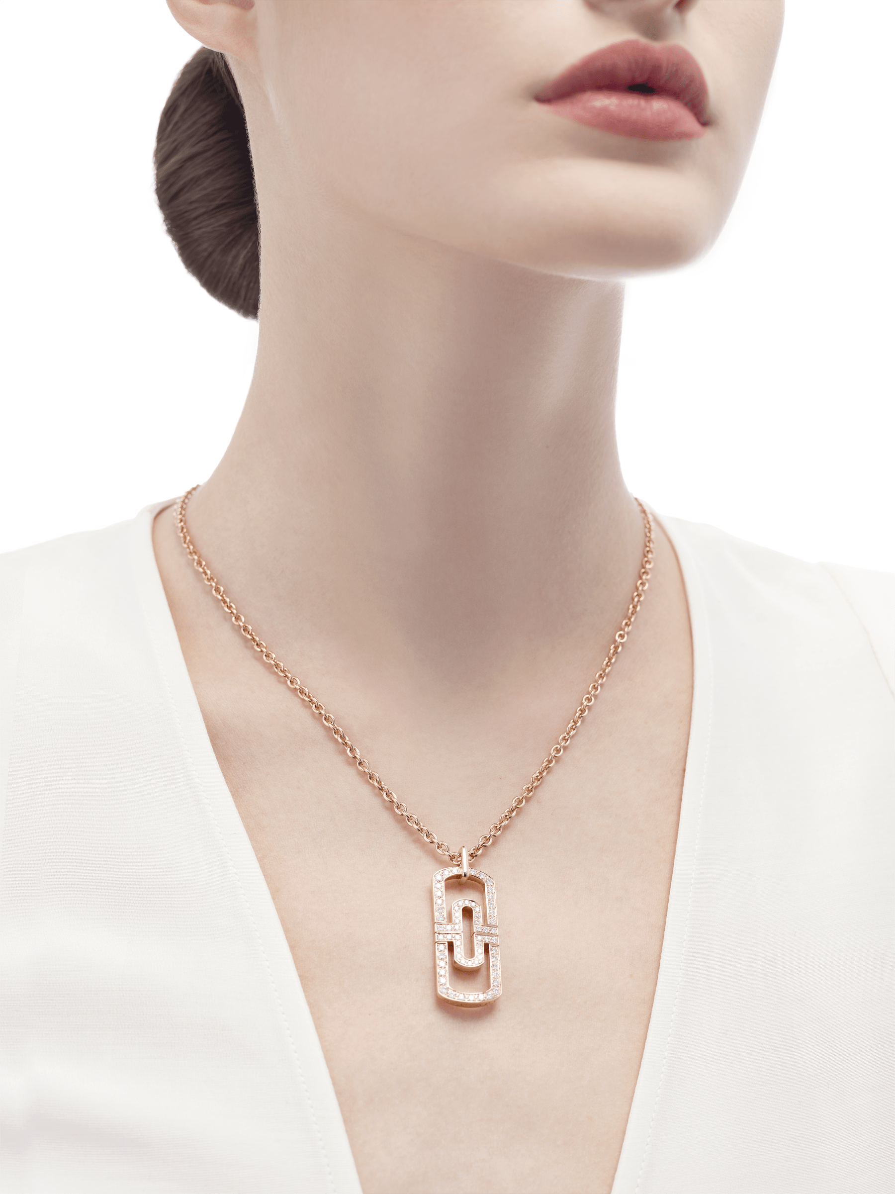 Parentesi necklace with 18 kt rose gold chain and 18 kt rose gold pendant set with full pavé diamonds 349184 image 4