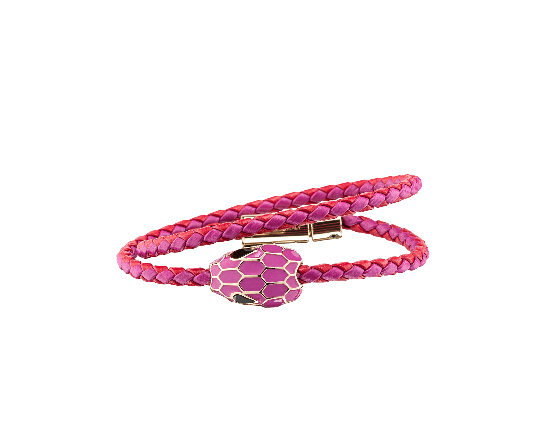 "Bracciale multigiro ""Serpenti Forever"" in vitello intrecciato rosso Amaranth Garnet e Magenta Spinel. Accattivante motivo ""Serpenti"" in smalto Magenta Spinel con seducenti occhi in smalto nero. SerpDoubleBraid-WCL-AGMS image 1"