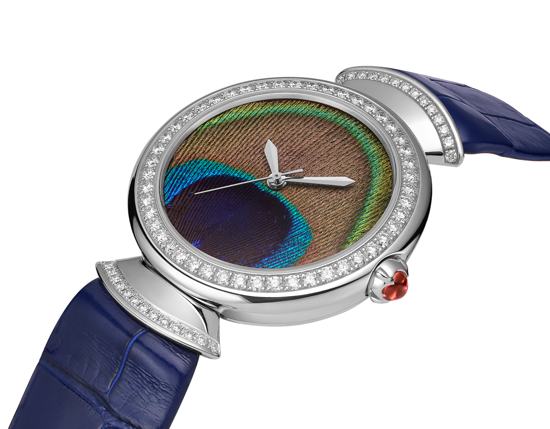 DIVAS' DREAM watch with mechanical manufacture movement, automatic winding, 18 kt white gold case, 18 kt white gold bezel and fan-shaped links both set with brilliant-cut diamonds, natural peacock feather dial and blue alligator bracelet 103263 image 3