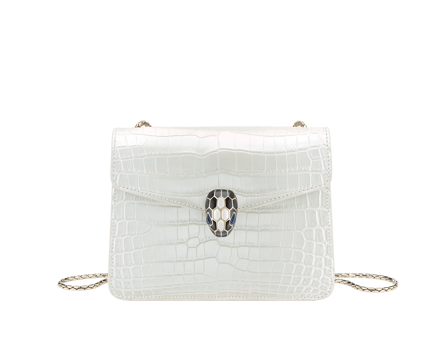 """Serpenti Forever"" crossbody bag in white agate crocodile skin with an iridescent and pearled effect. Iconic snake head closure in light gold plated brass enriched with black enamel and mother-of-pearl scales, and blue lapis lazuli eyes. 289850 image 1"