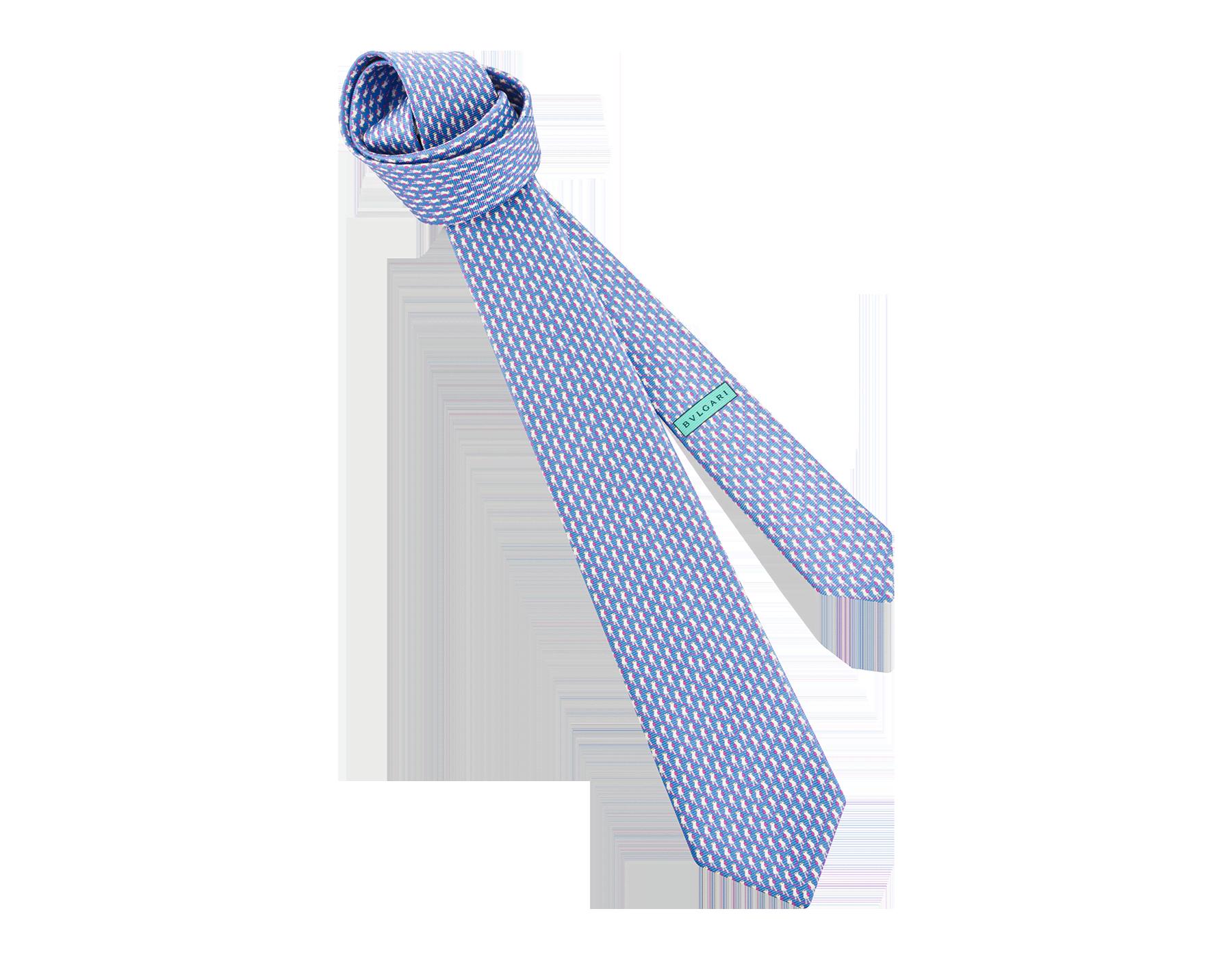 """Siebenfach gefaltete, blaue Krawatte mit """"Bird Watching"""" Muster aus feiner, bedruckter Saglione-Seide. 243136 image 1"""