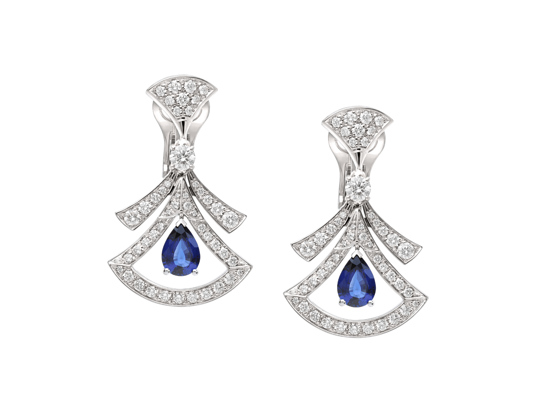DIVAS' DREAM 18 kt white gold openwork earrings, set with pear-shaped sapphires, round brilliant-cut and pavé diamonds. 357324 image 1