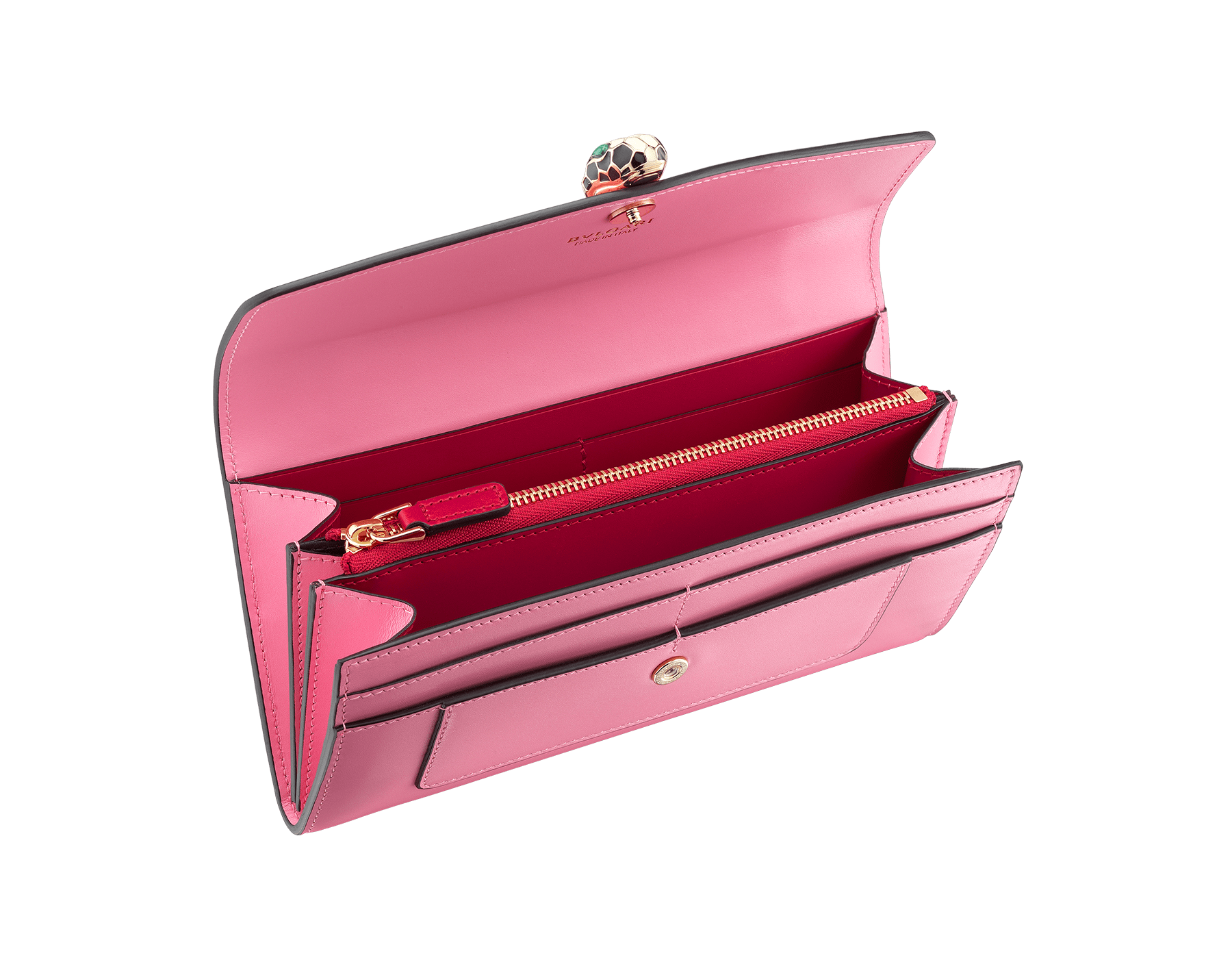 Serpenti Forever wallet pochette in candy quartz and carmine jasper calf leather. Iconic snakehead stud closure in black and white enamel, with green malachite eyes 287147 image 2