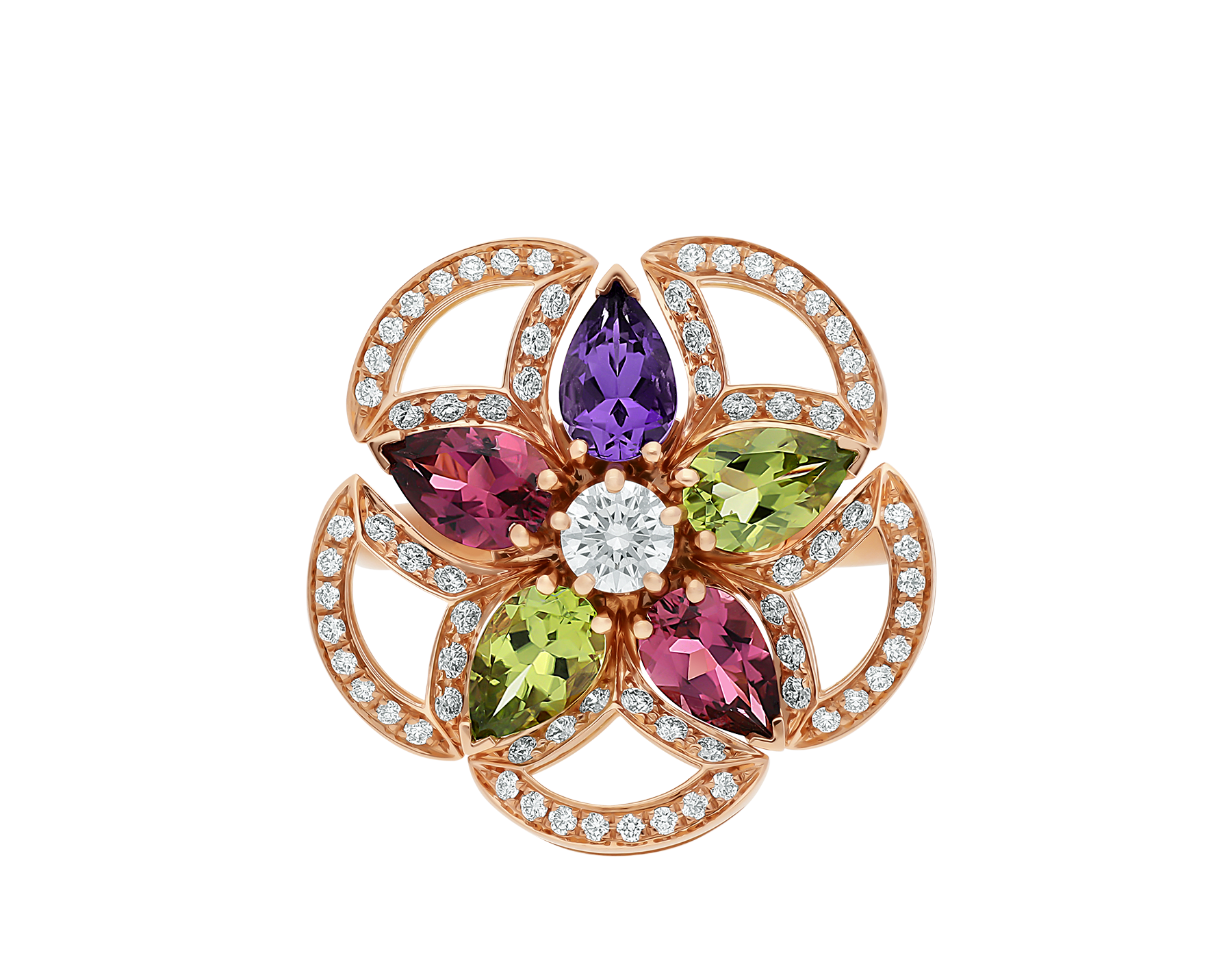 DIVAS' DREAM 18 kt rose gold ring set with coloured gemstones, a brilliant-cut diamond and pavé diamonds AN858421 image 3