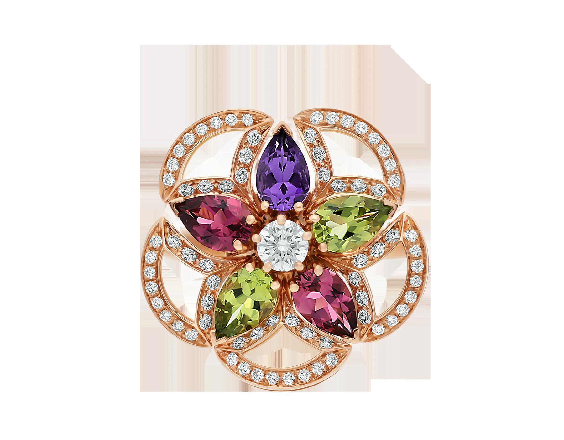 Bague DIVAS' DREAM en or rose 18K sertie de pierres de couleur, diamant taille brillant et pavé diamants AN858421 image 3