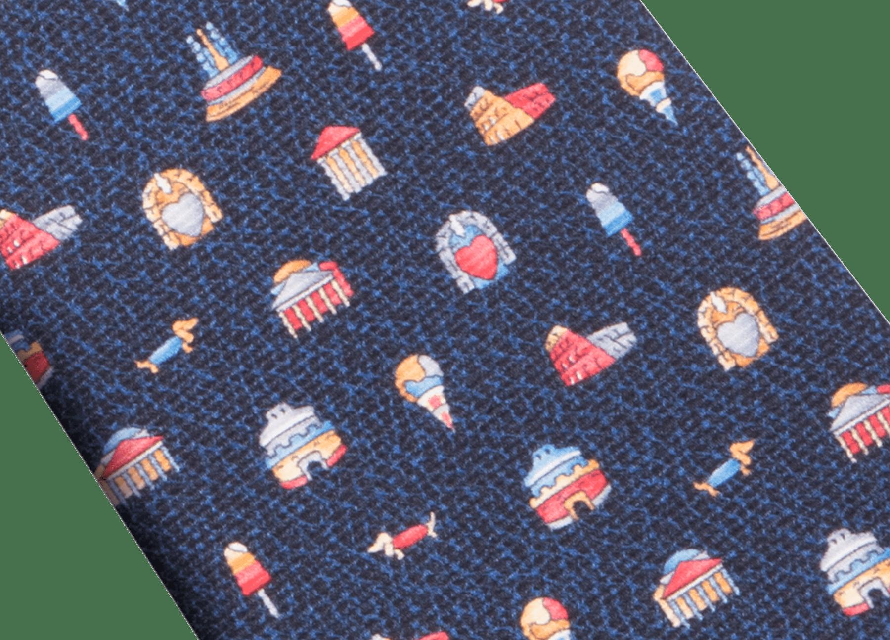 "Bordeaux ""Città Eterna"" seven-folds tie in fine saglione printed silk. CITTAETERNAtie image 2"