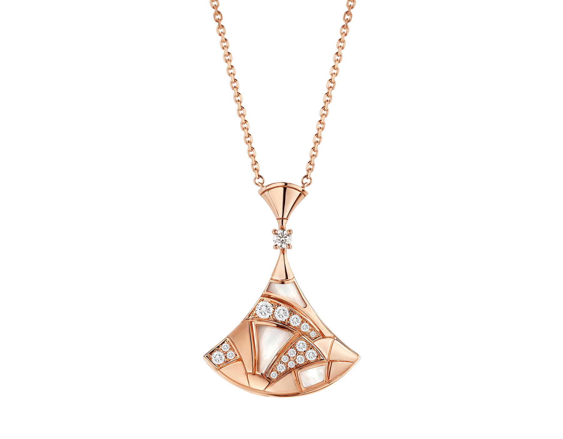 DIVAS' DREAM necklace in 18 kt rose gold with pendant set with mother-of-pearl elements, one diamond and pavé diamonds. 350065 image 1
