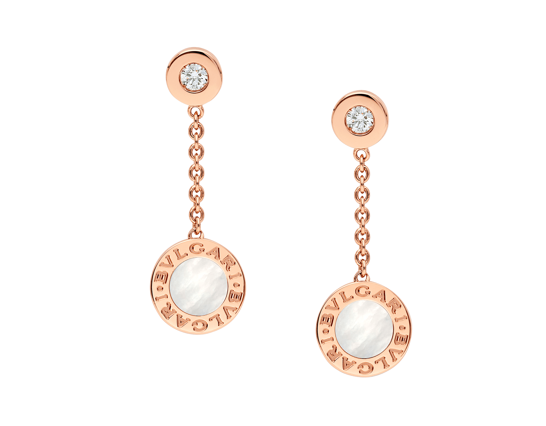 BVLGARI BVLGARI 18 kt rose gold earrings set with mother-of-pearl and diamonds 351086 image 1