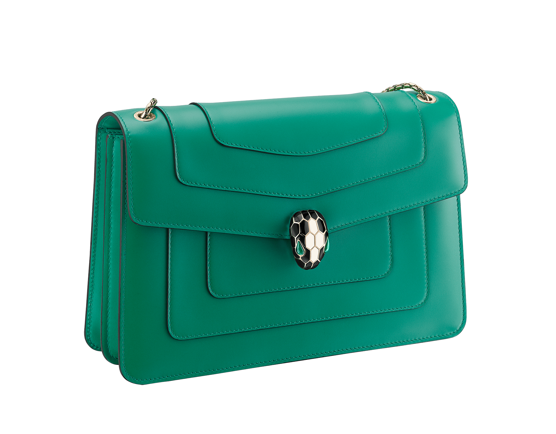 """""""Serpenti Forever"""" shoulder bag in black calf leather with emerald green gros grain internal lining. Iconic snakehead closure in light gold plated brass enriched with black and white agate enamel and green malachite eyes. 1089-Cla image 2"""